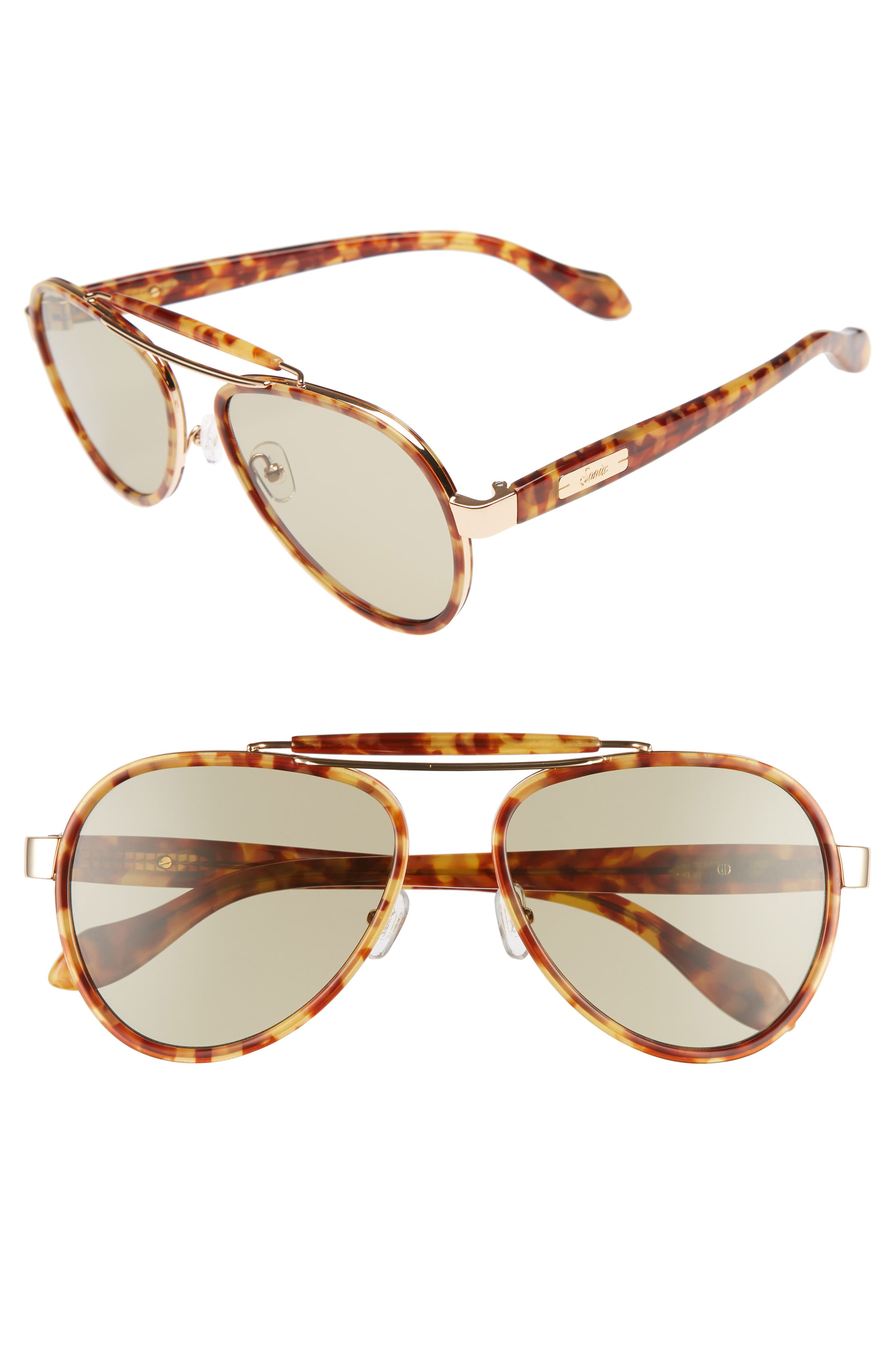 SONIX PABLO 58MM AVIATOR SUNGLASSES - BROWN TORTOISE/ SAGE SOLID