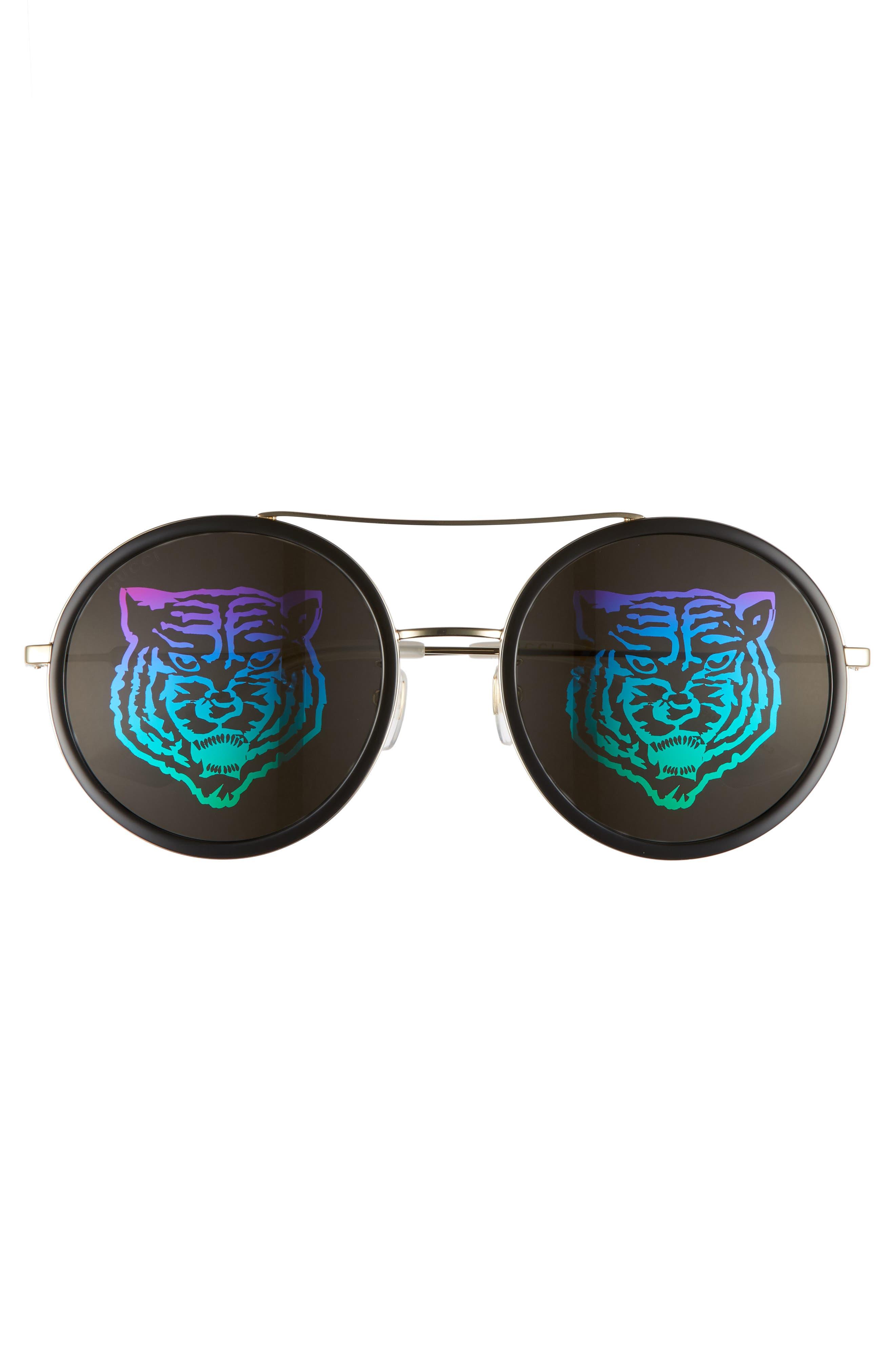 Web Block Hologram 56mm Round Sunglasses,                             Alternate thumbnail 2, color,                             Gold/ Pearl