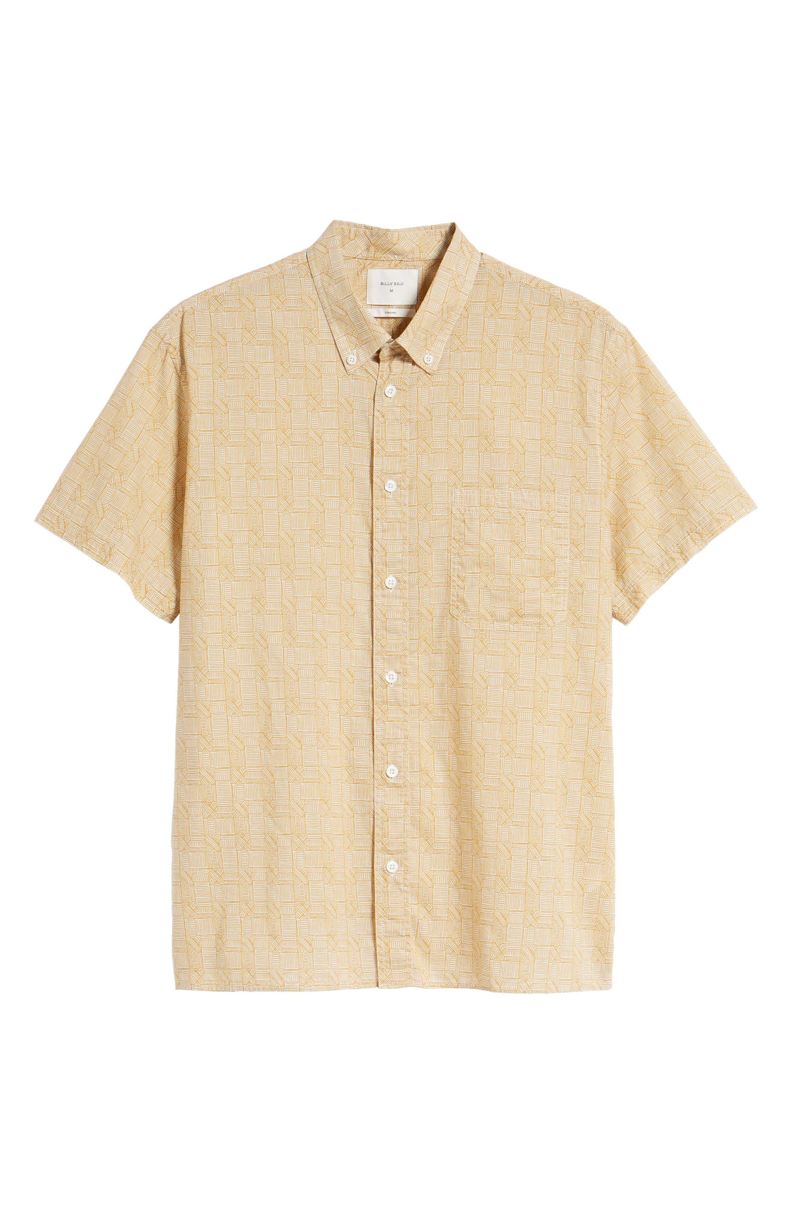Leo Standard Fit Short Sleeve Sport Shirt,                             Alternate thumbnail 6, color,                             Mustard Docks