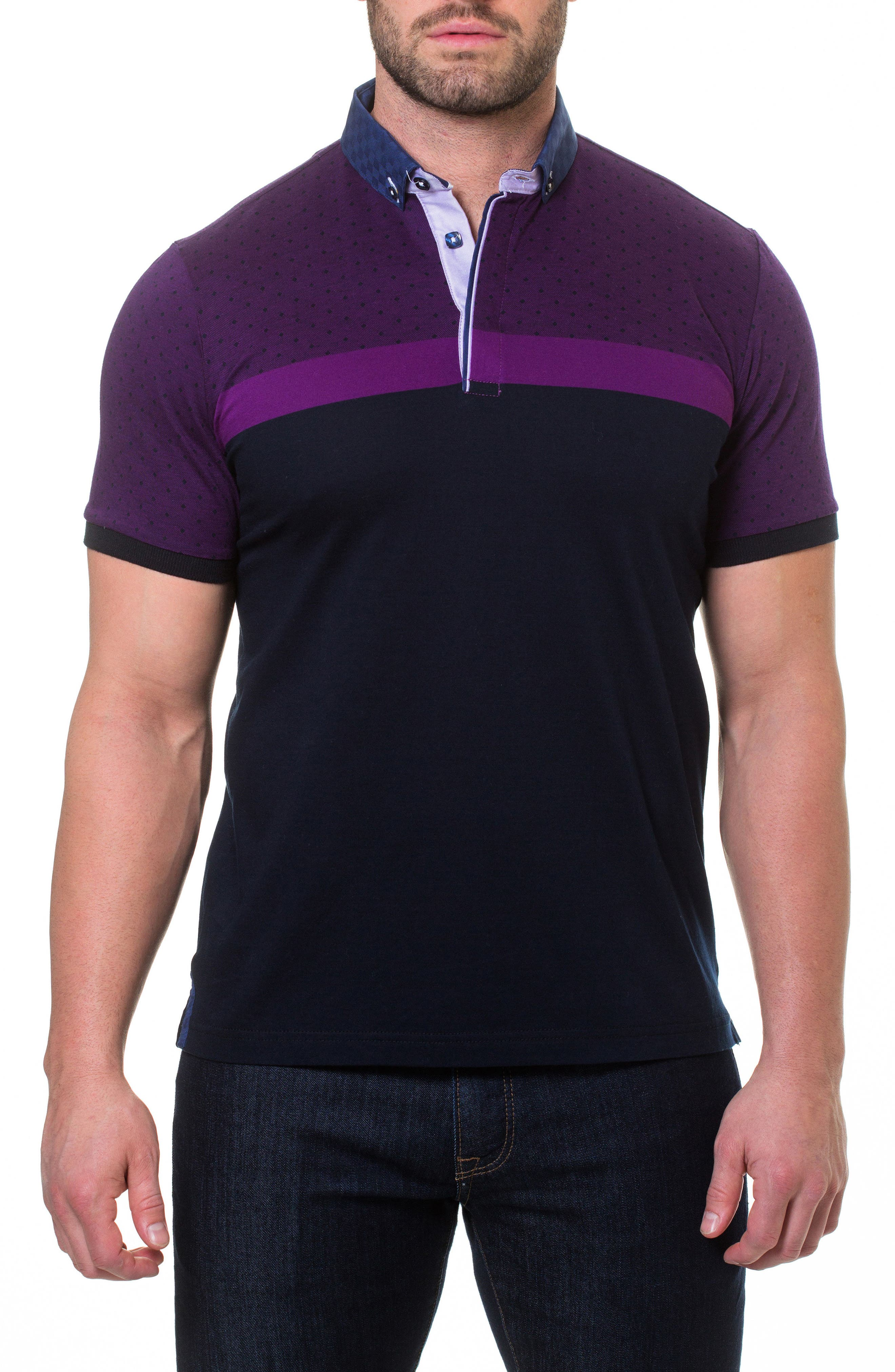 Diamond Woven Trim Polo,                         Main,                         color, Purple