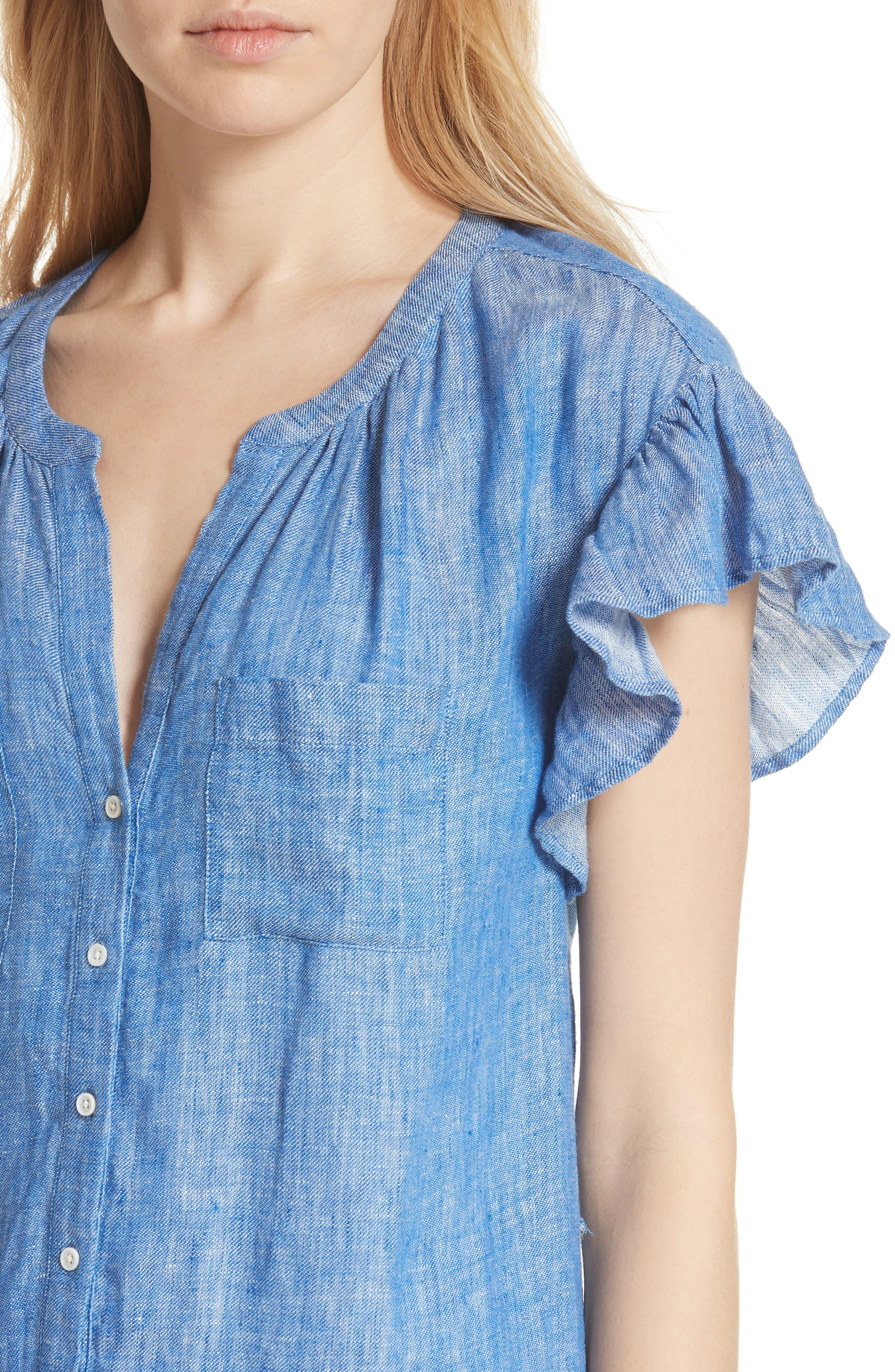 Fermina Ruffle Sleeve Linen Dress,                             Alternate thumbnail 4, color,                             Surf Break
