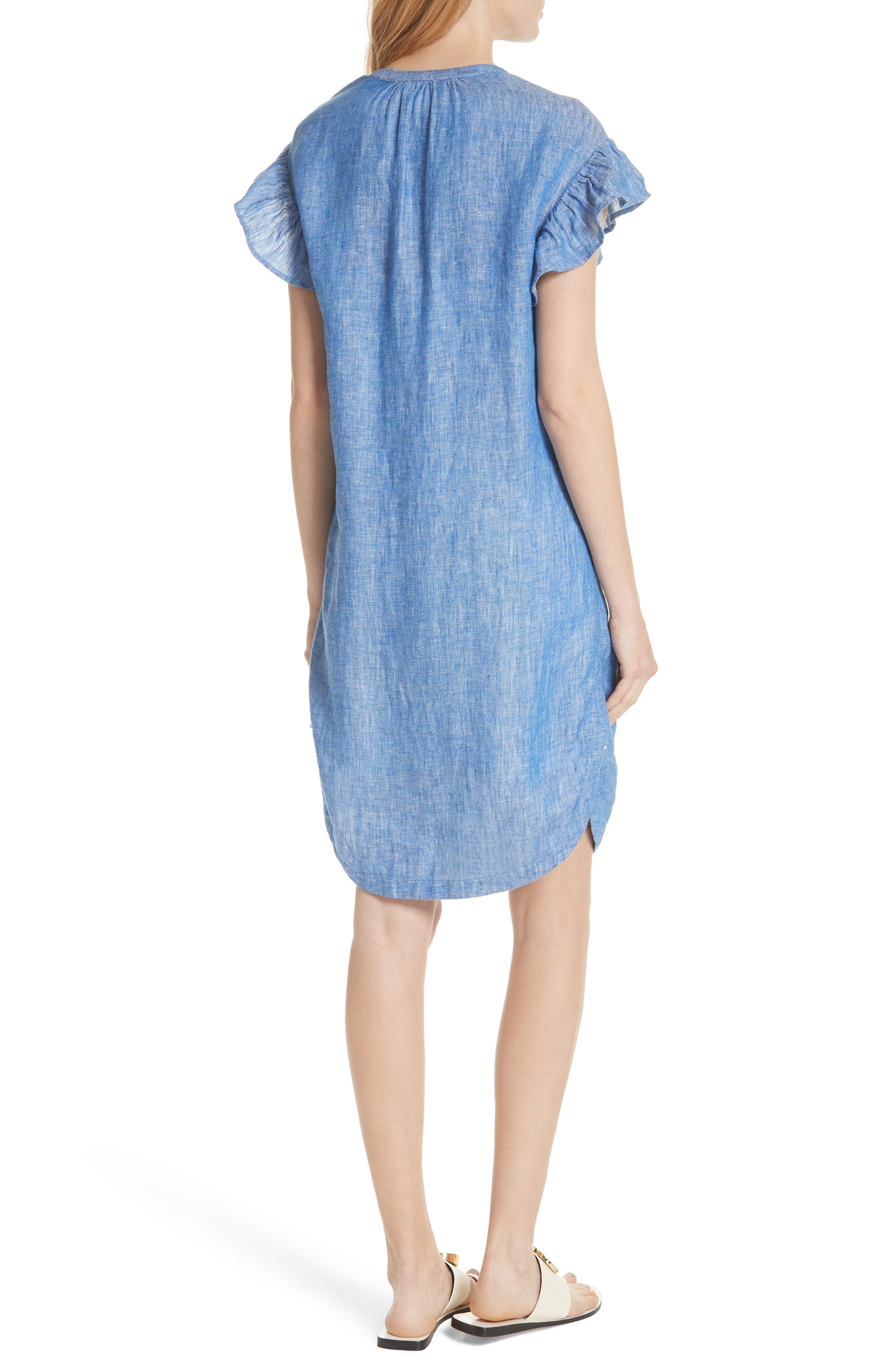 Fermina Ruffle Sleeve Linen Dress,                             Alternate thumbnail 2, color,                             Surf Break