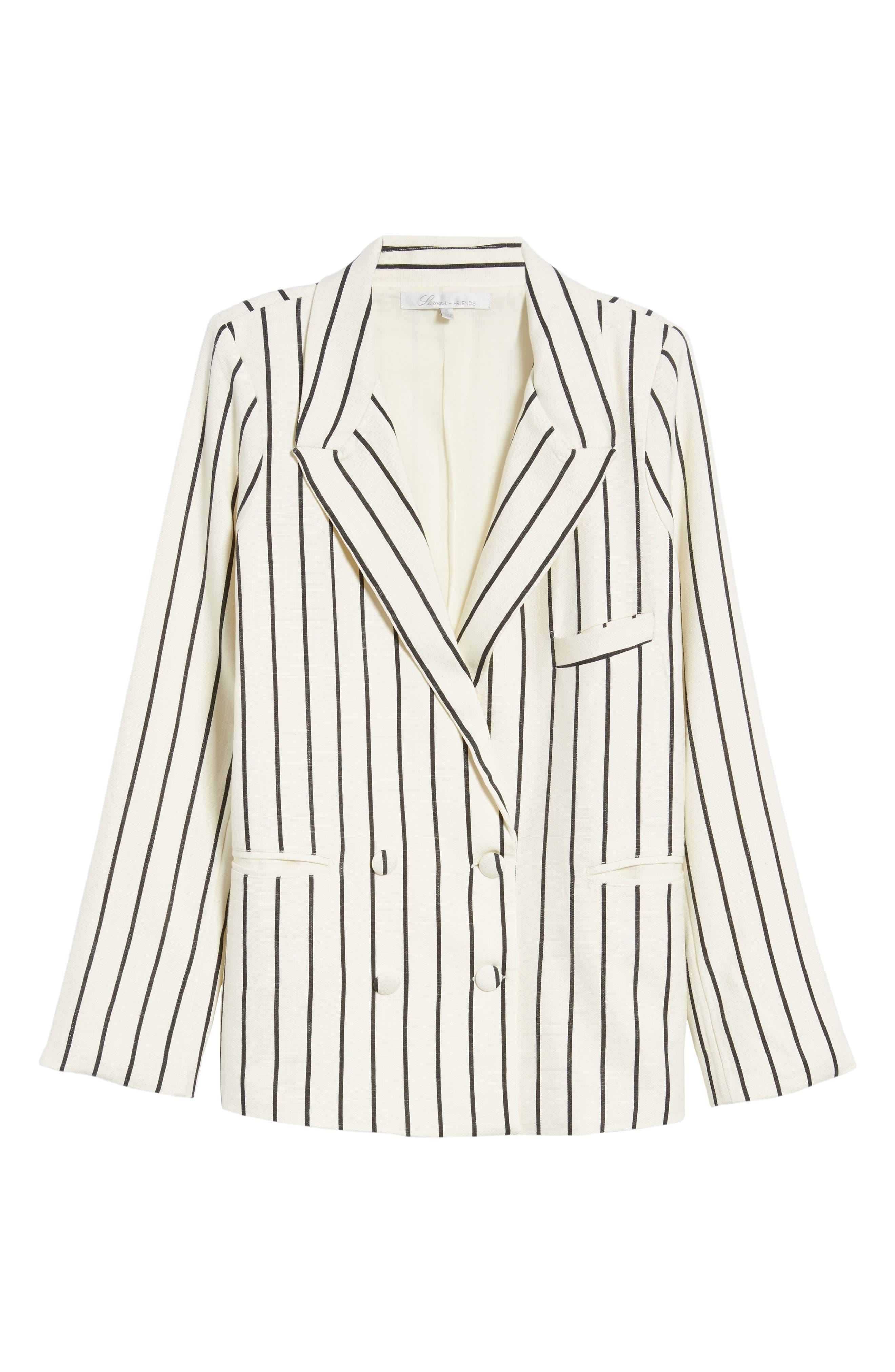 Fanning Stripe Blazer,                             Alternate thumbnail 7, color,                             Natural And Black