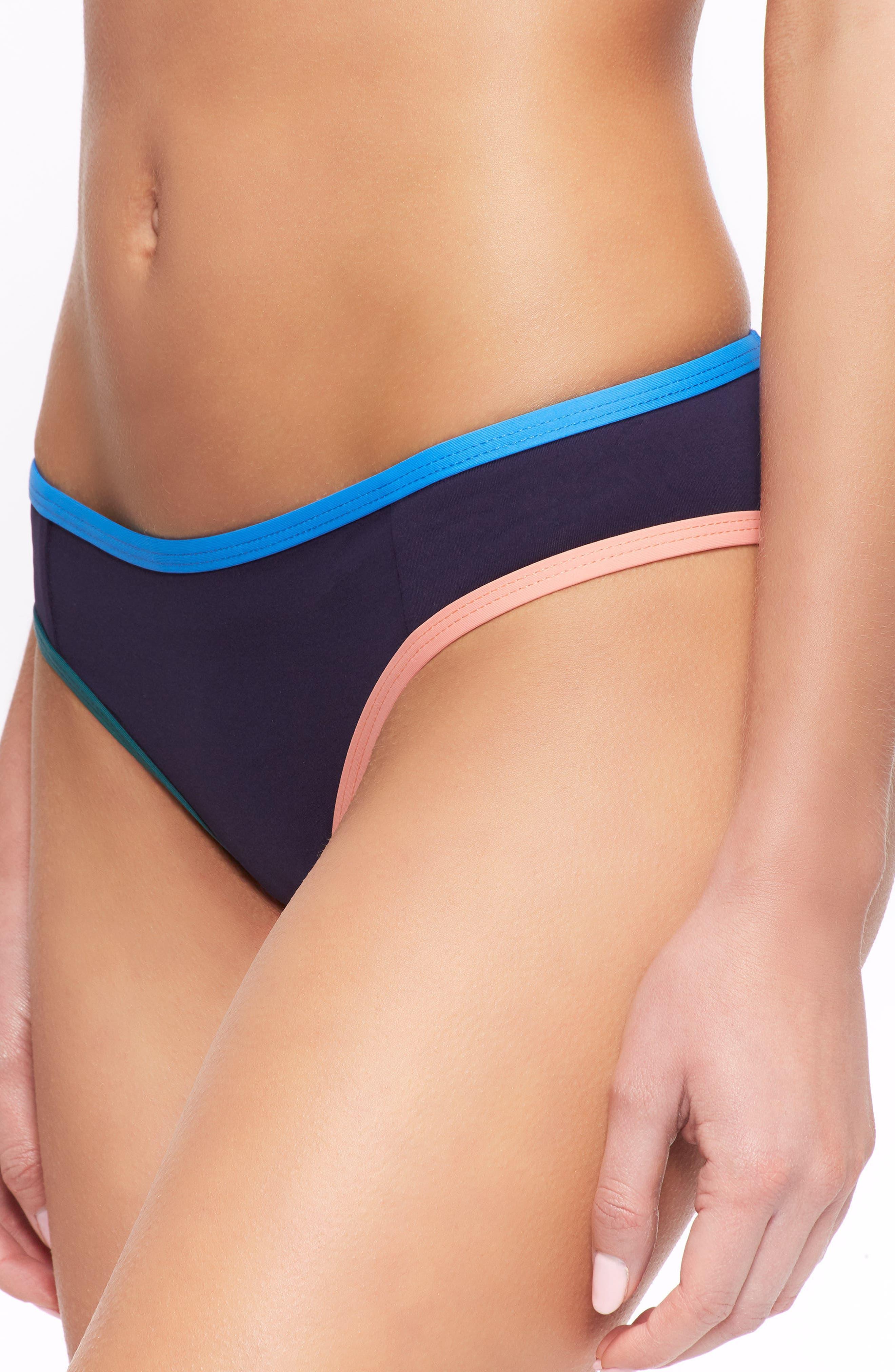 Jayden Bikini Bottoms,                             Alternate thumbnail 3, color,                             Evening Blue/ French Blue