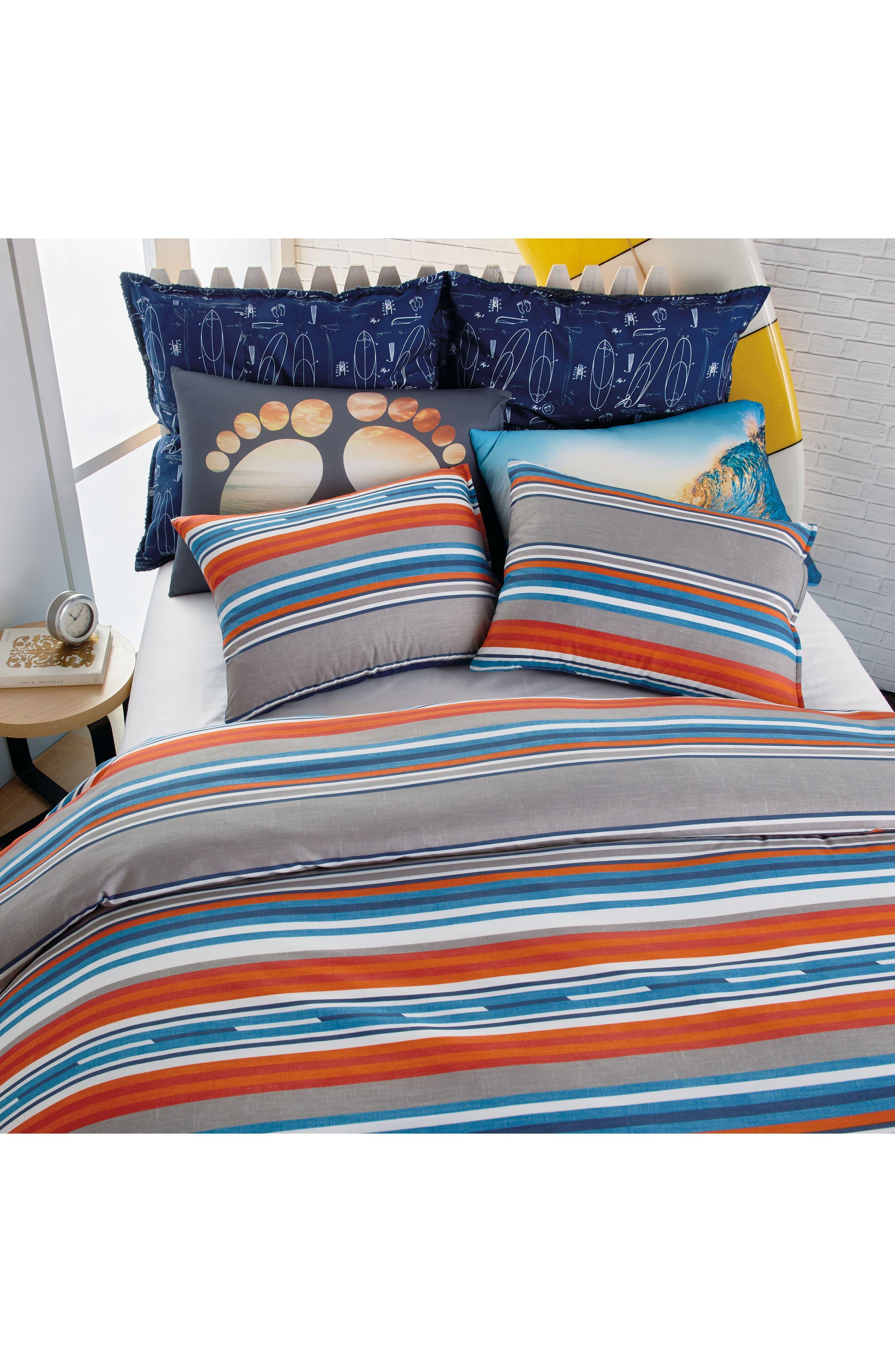 Surfboard Stripe Comforter & Sham Set,                             Alternate thumbnail 3, color,                             Grey