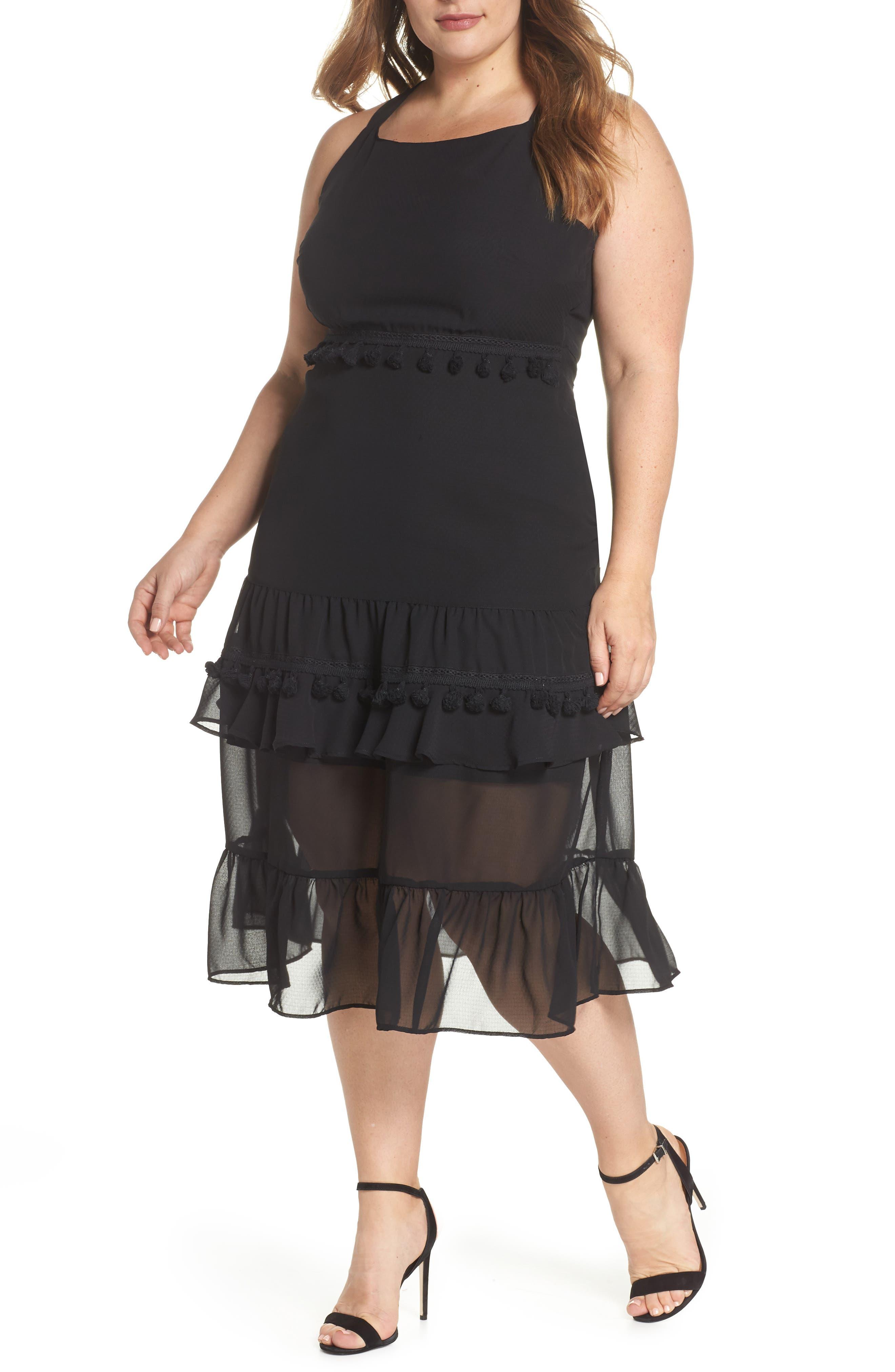 LOST INK Tassel Trim Sheer Hem Dress (Plus Size)