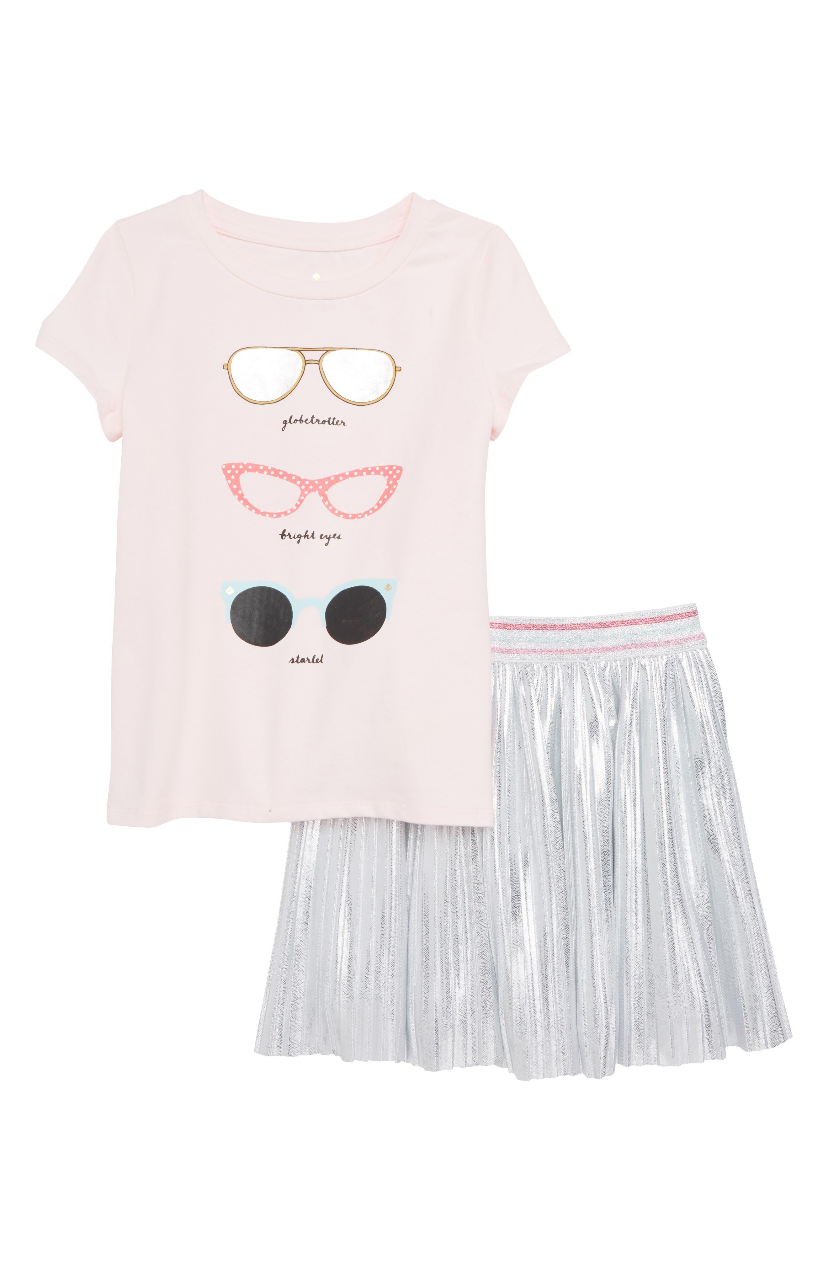 graphic tee & skirt set,                         Main,                         color, Sonata Pink