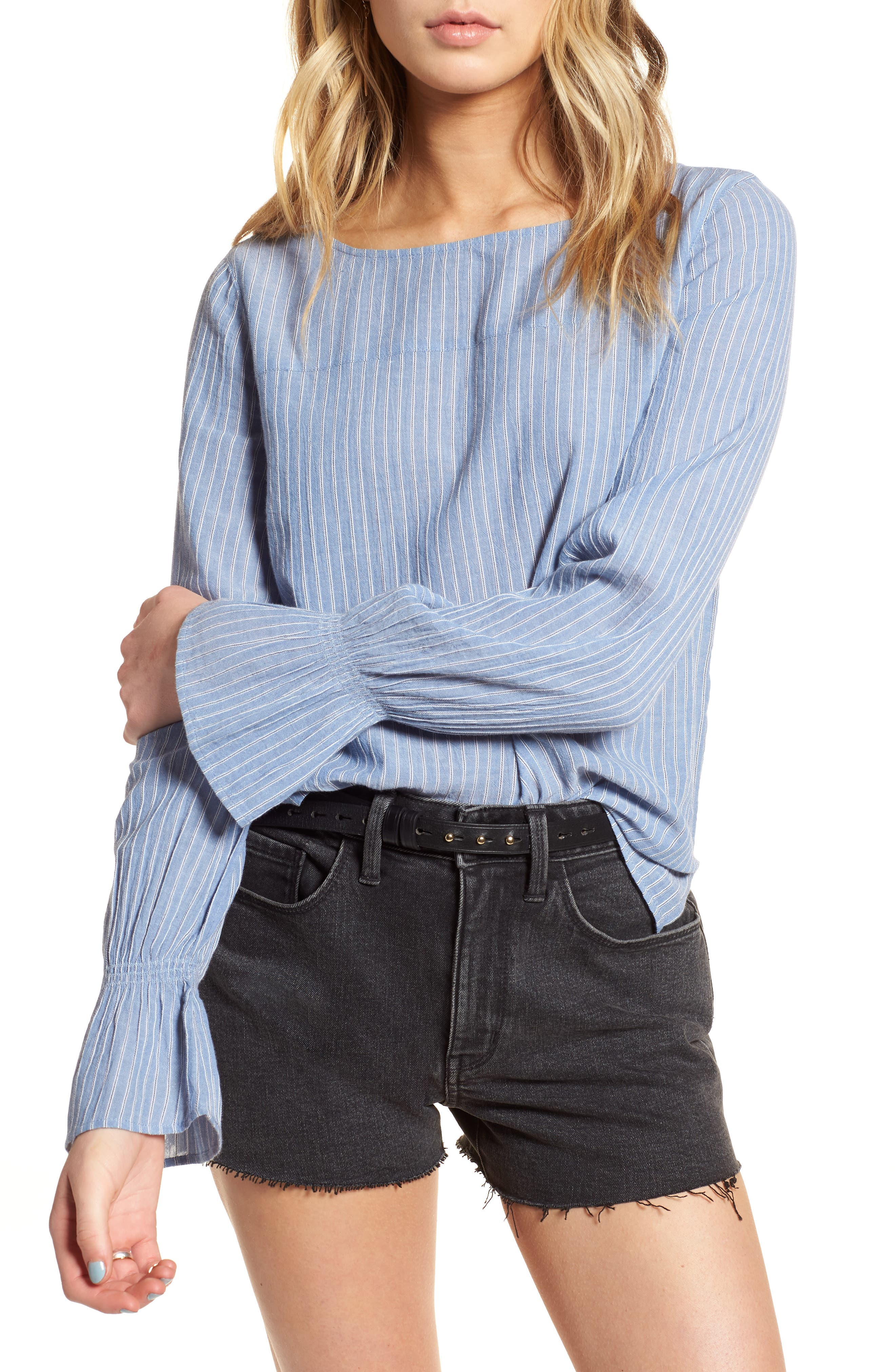 Tie Back Top,                             Main thumbnail 1, color,                             Blue Airy Stripe