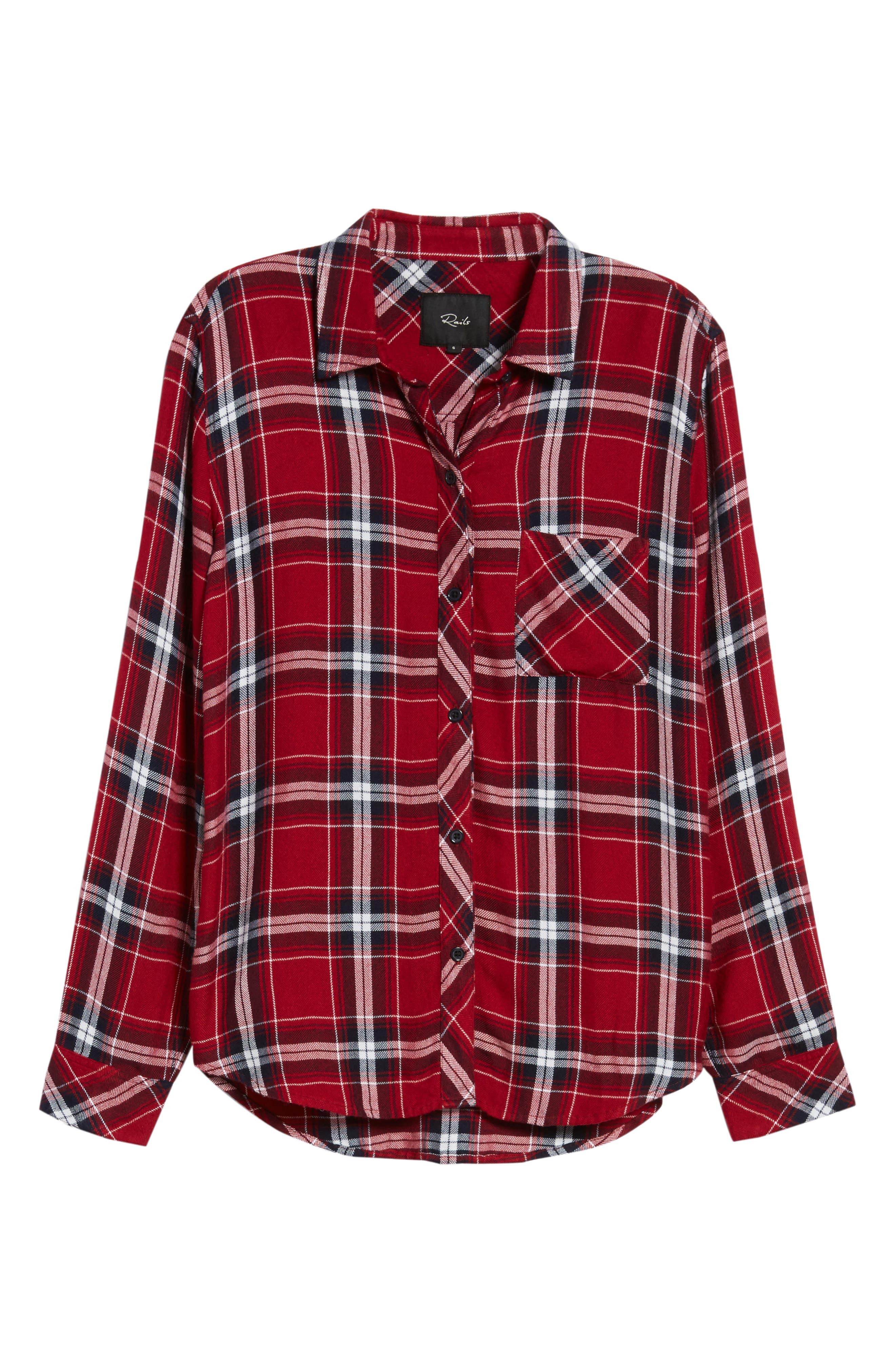 Hunter Plaid Shirt,                             Alternate thumbnail 7, color,                             Cranberry Ink White