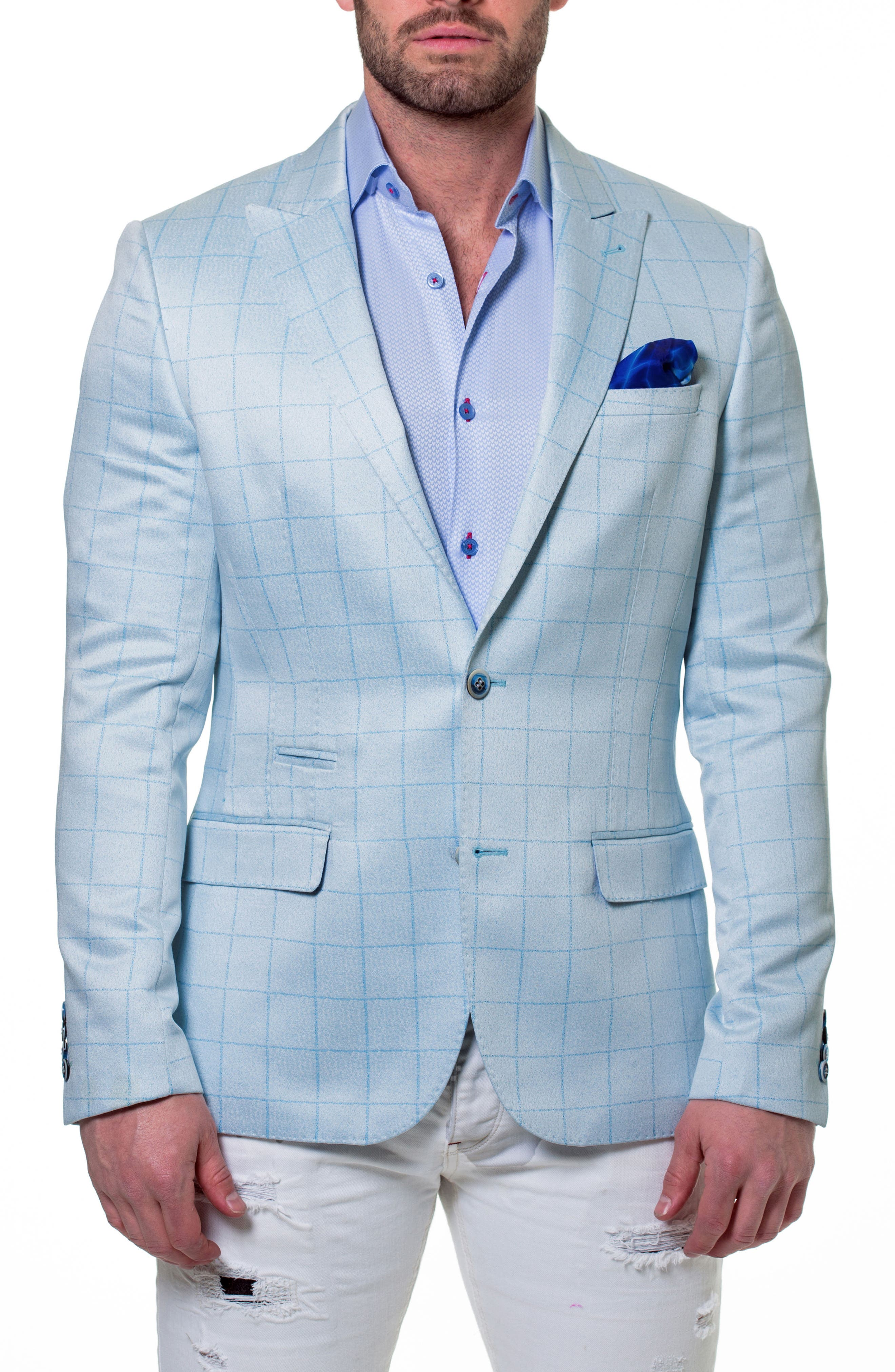 Elegance Check Windowpane Sport Coat,                             Main thumbnail 1, color,                             Blue
