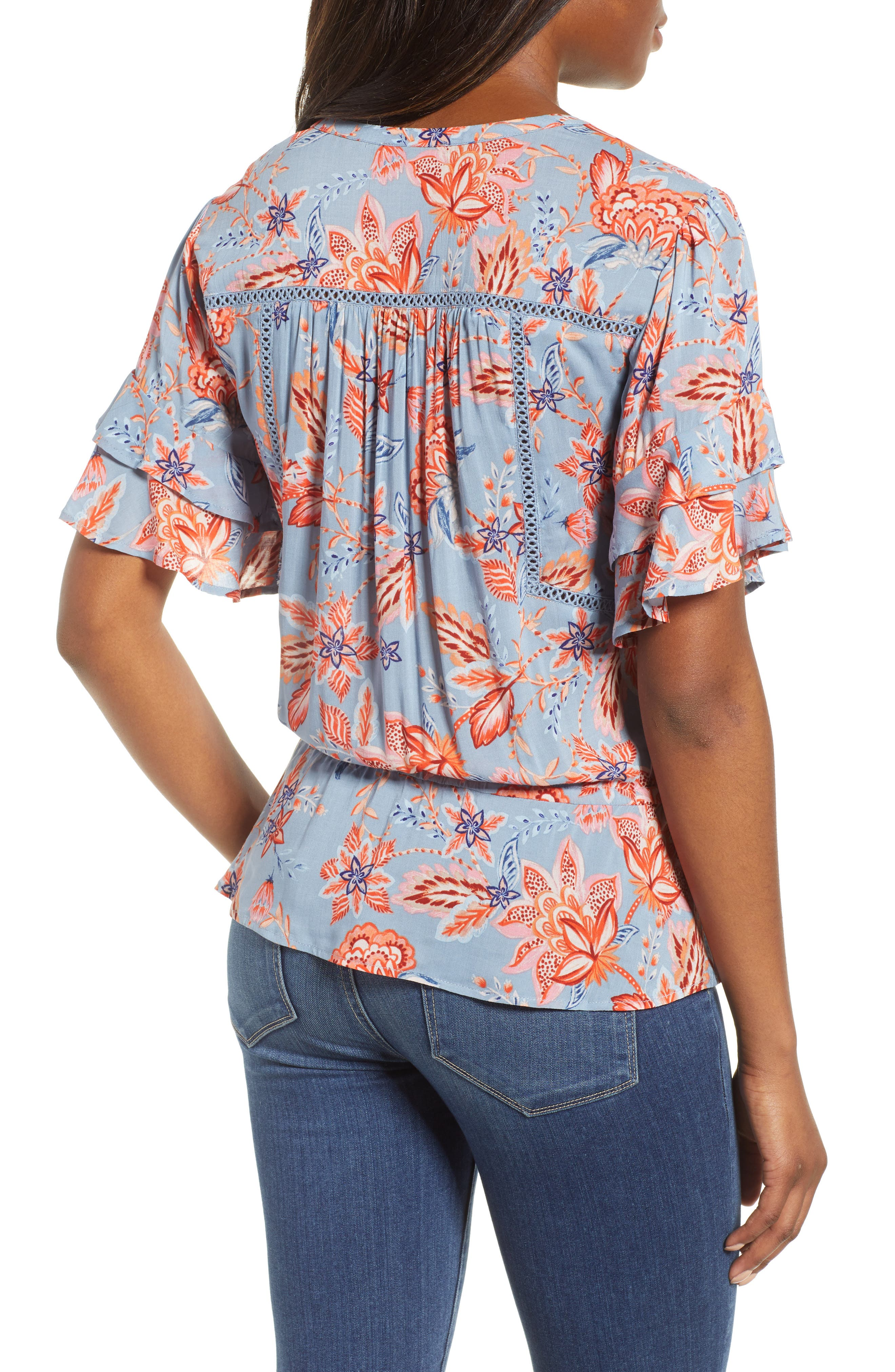 Alternate Image 2  - Wit & Wisdom Double Flounce Floral Top (Nordstrom Exclusive)