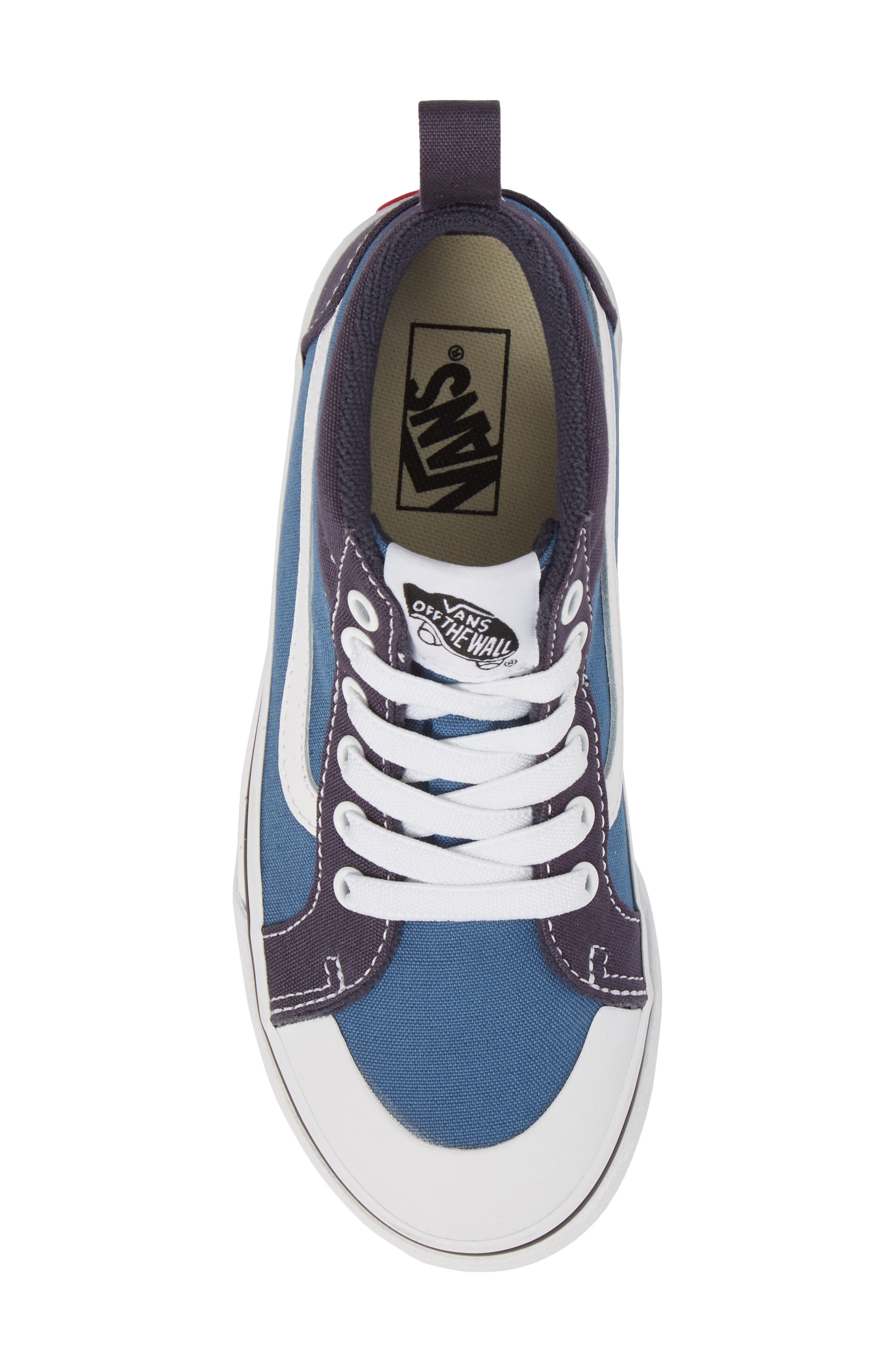 Racer Mid Elastic Lace Sneaker,                             Alternate thumbnail 5, color,                             Navy/ Navy