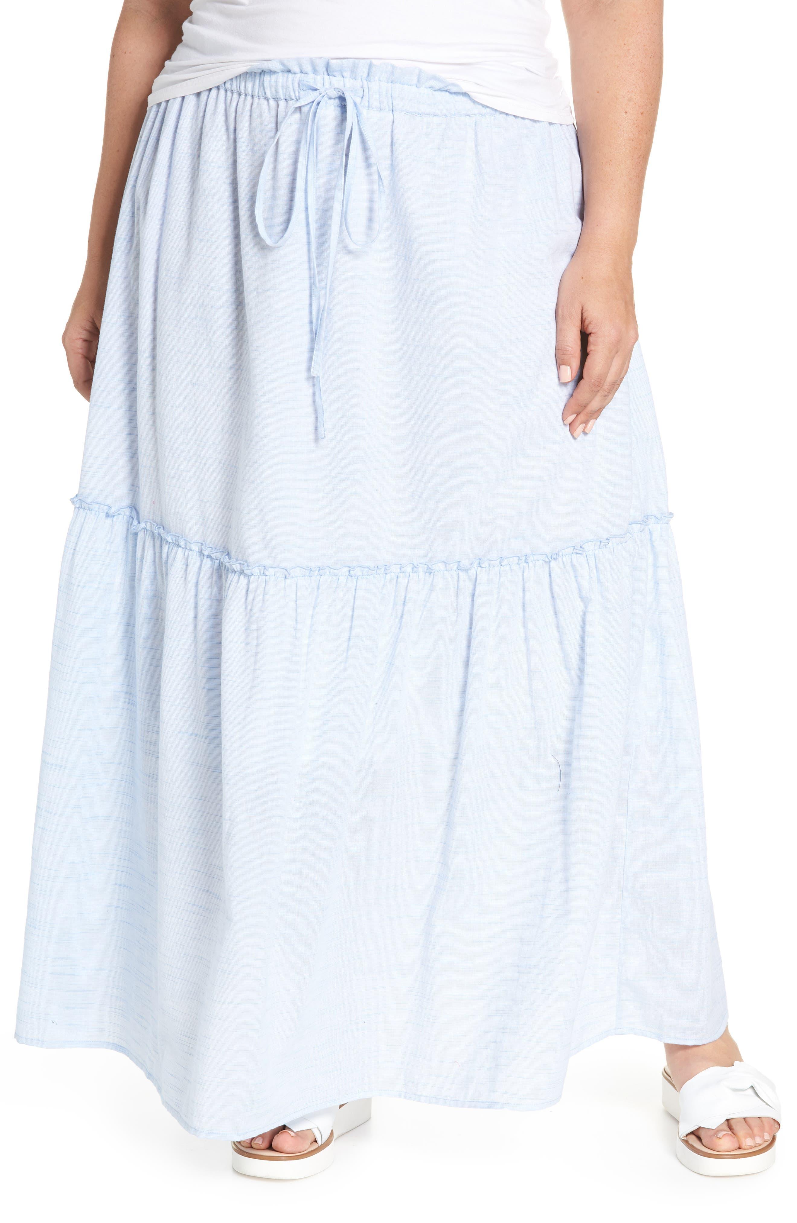 Ruffle Hem Maxi Skirt,                         Main,                         color, Blue- White Pattern