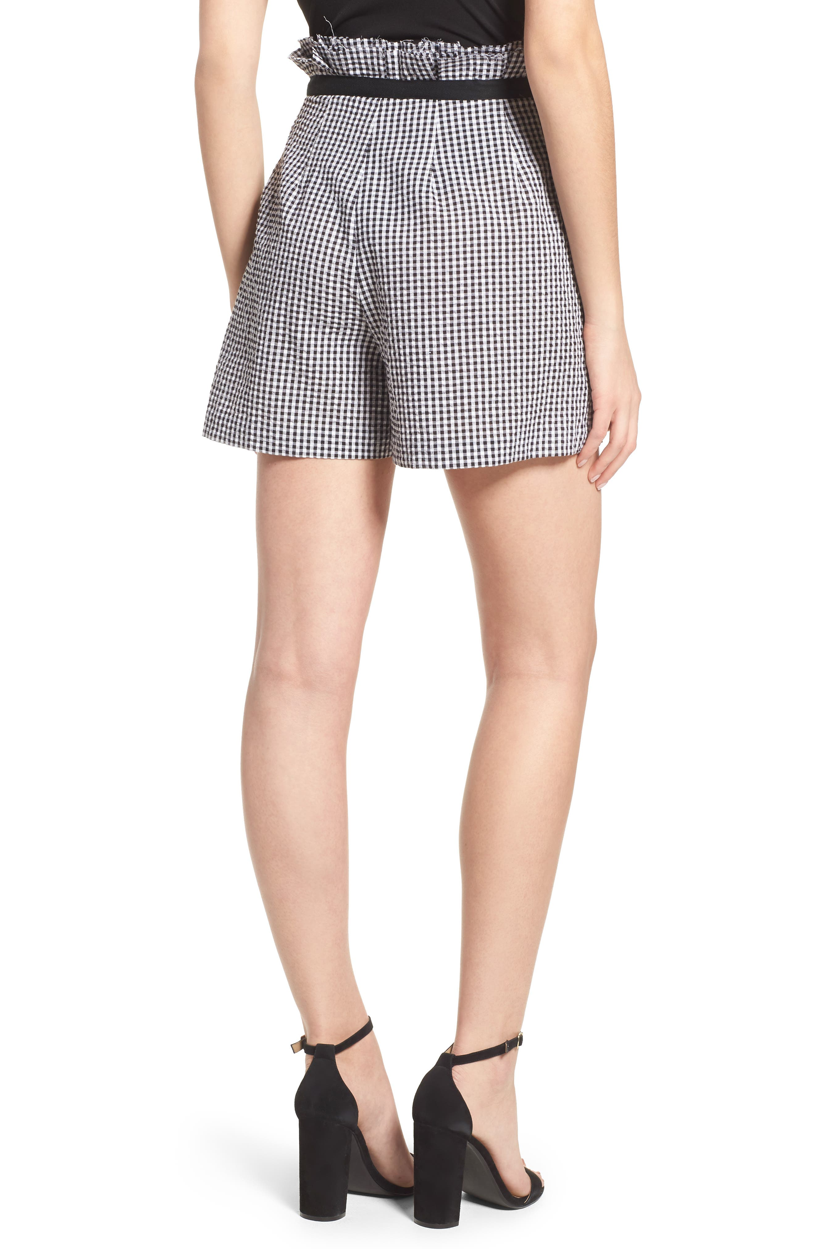 Gingham Paperbag Shorts,                             Alternate thumbnail 2, color,                             Black/ White Multi
