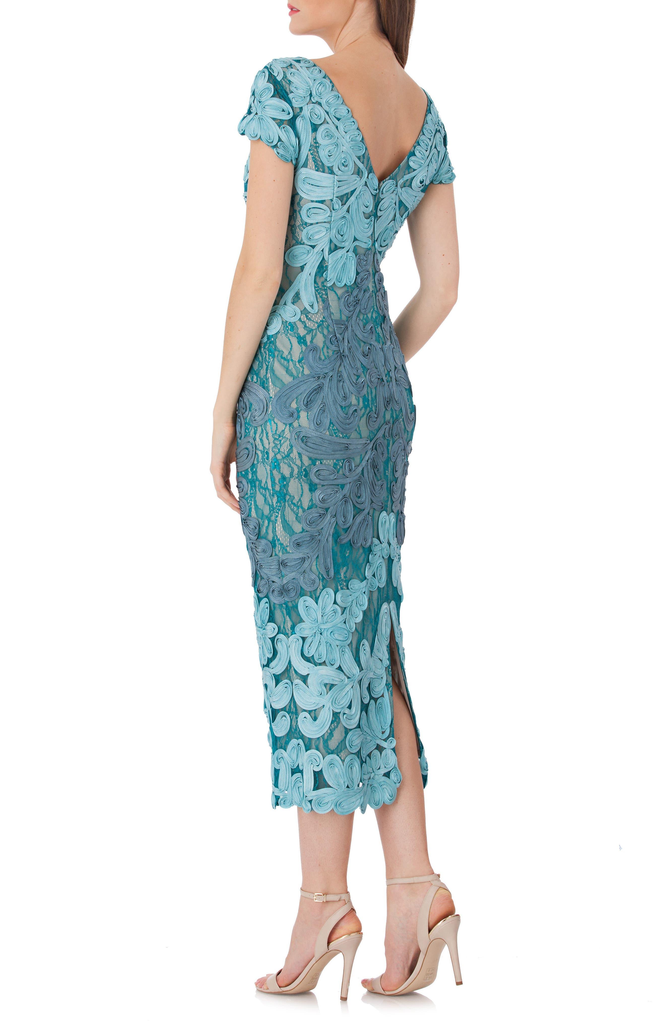 Soutache Lace Midi Dress,                             Alternate thumbnail 2, color,                             Azure/ Grey