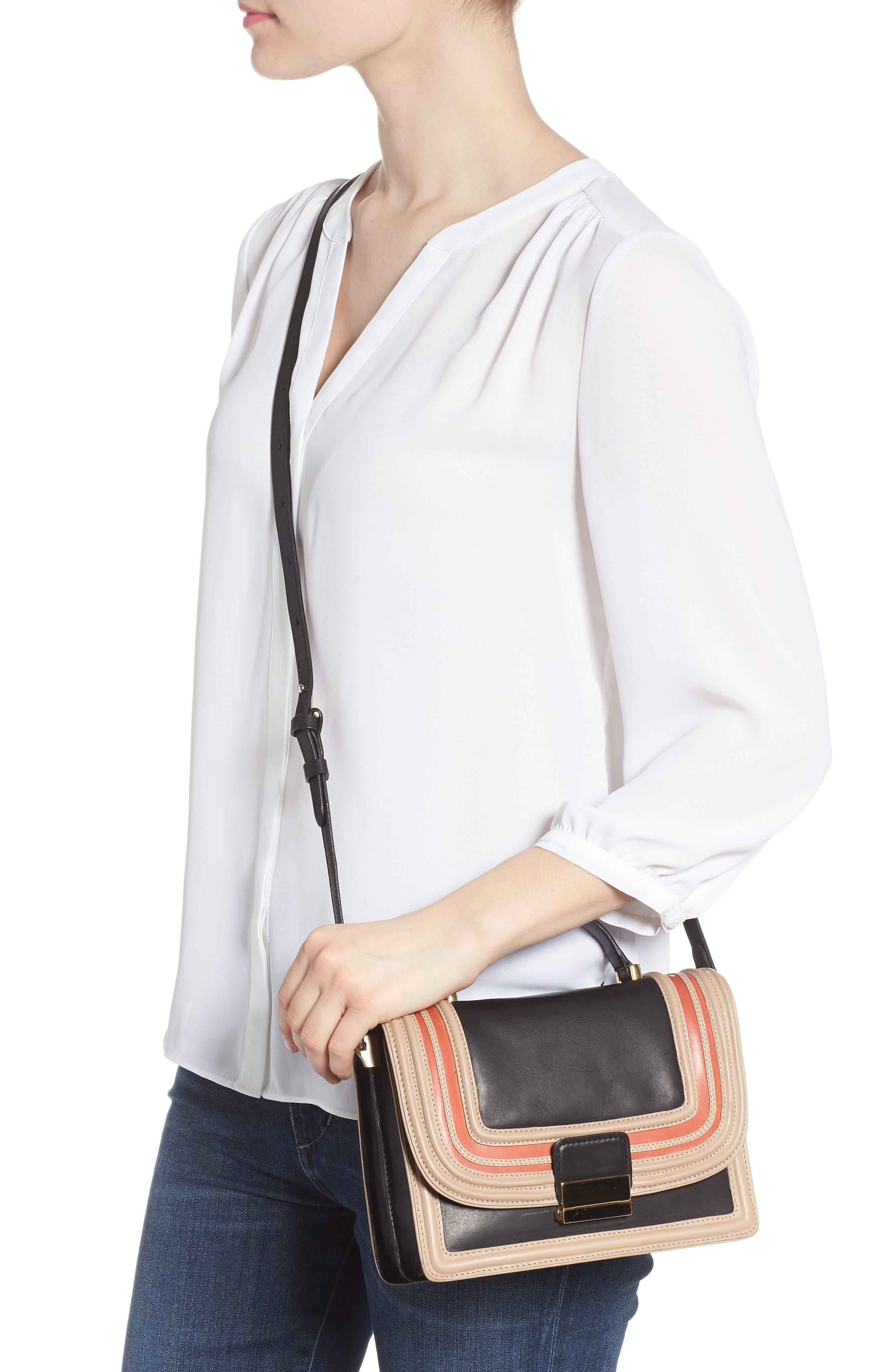 Small Square Top Handle Handbag,                             Alternate thumbnail 2, color,                             Black