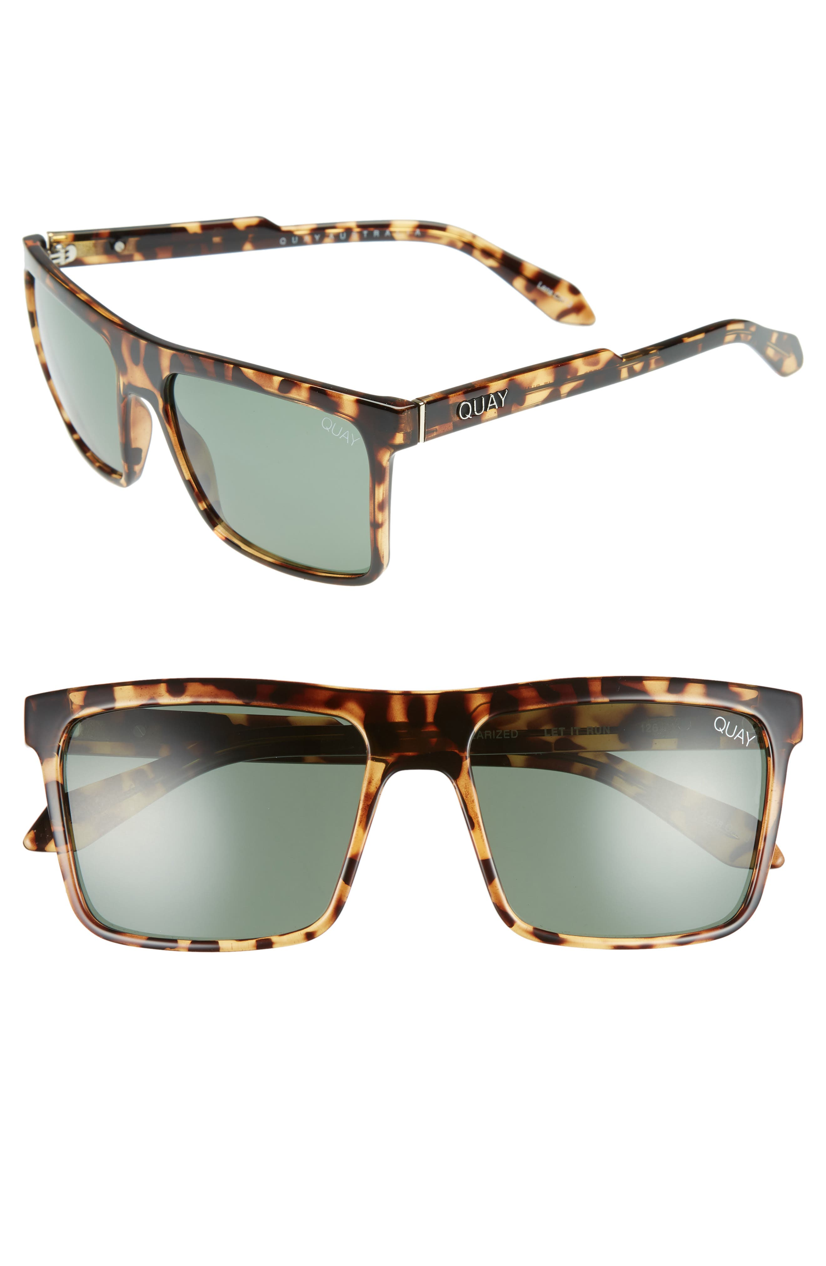 Let It Run 57mm Polarized Sunglasses,                         Main,                         color, Tort / Green Lens