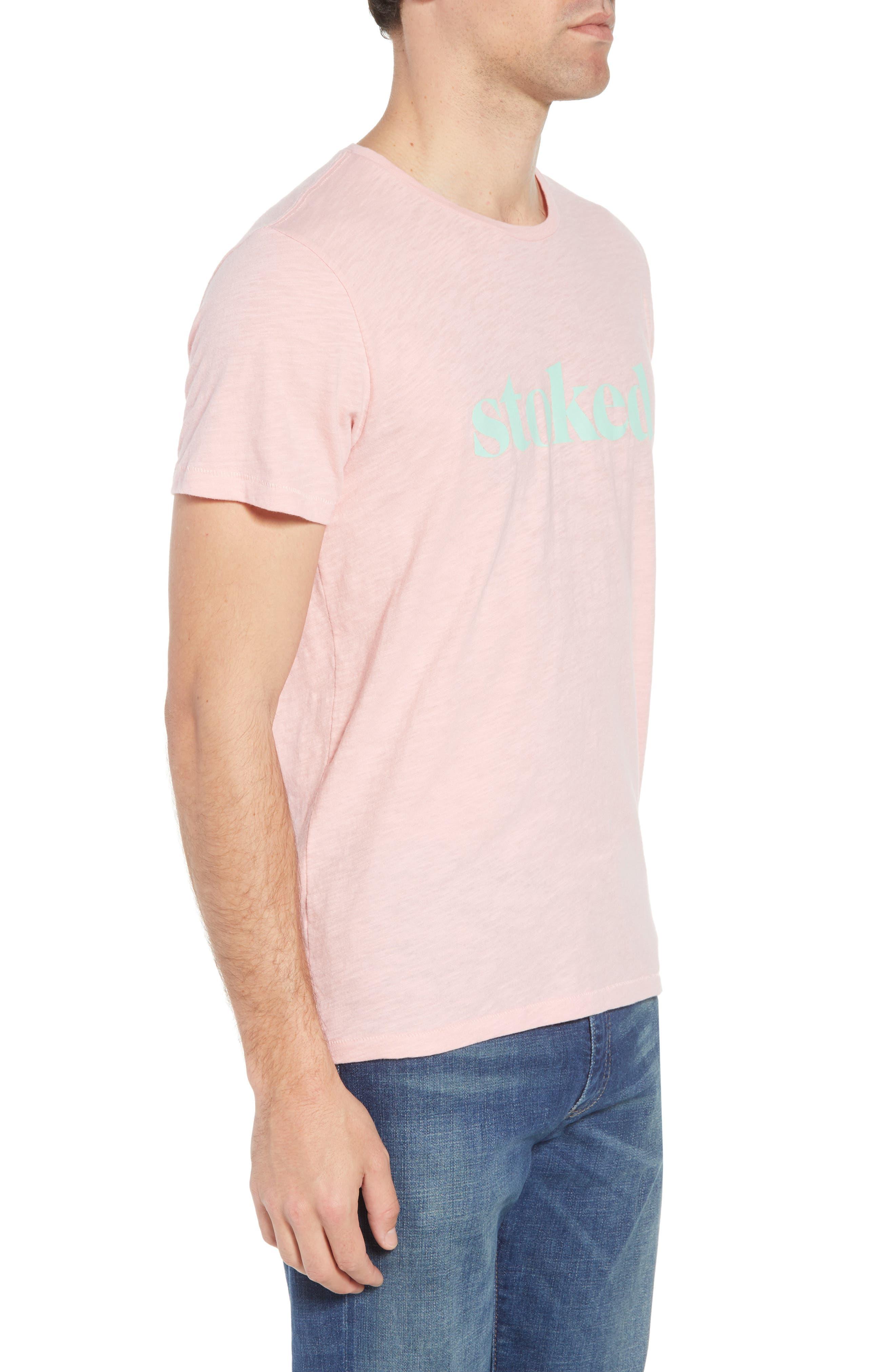 Stoked Slub T-Shirt,                             Alternate thumbnail 3, color,                             Pink Stoked