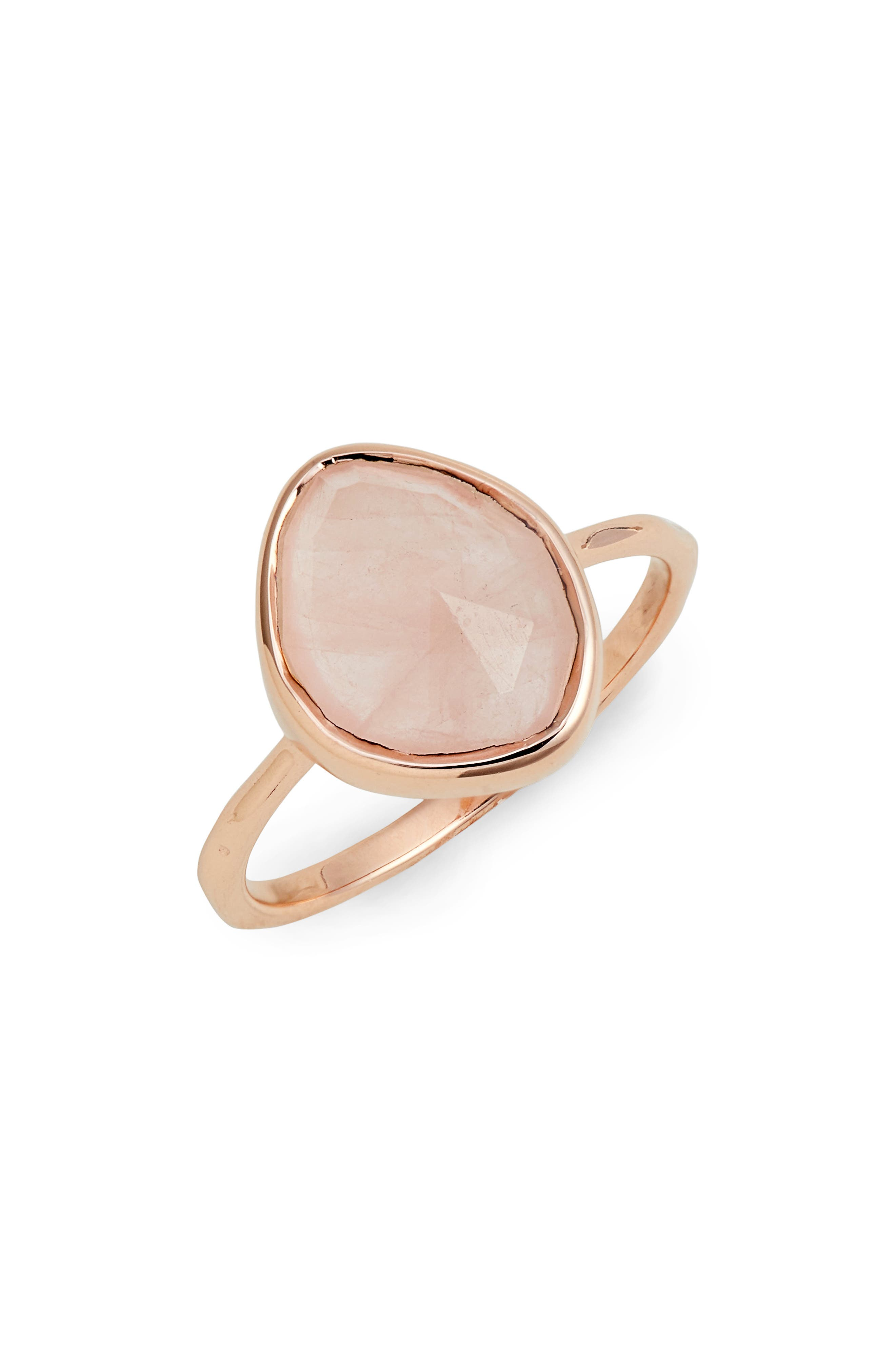 Siren Small Nugget Stacking Ring,                         Main,                         color, Rose Gold/ Rose Quartz