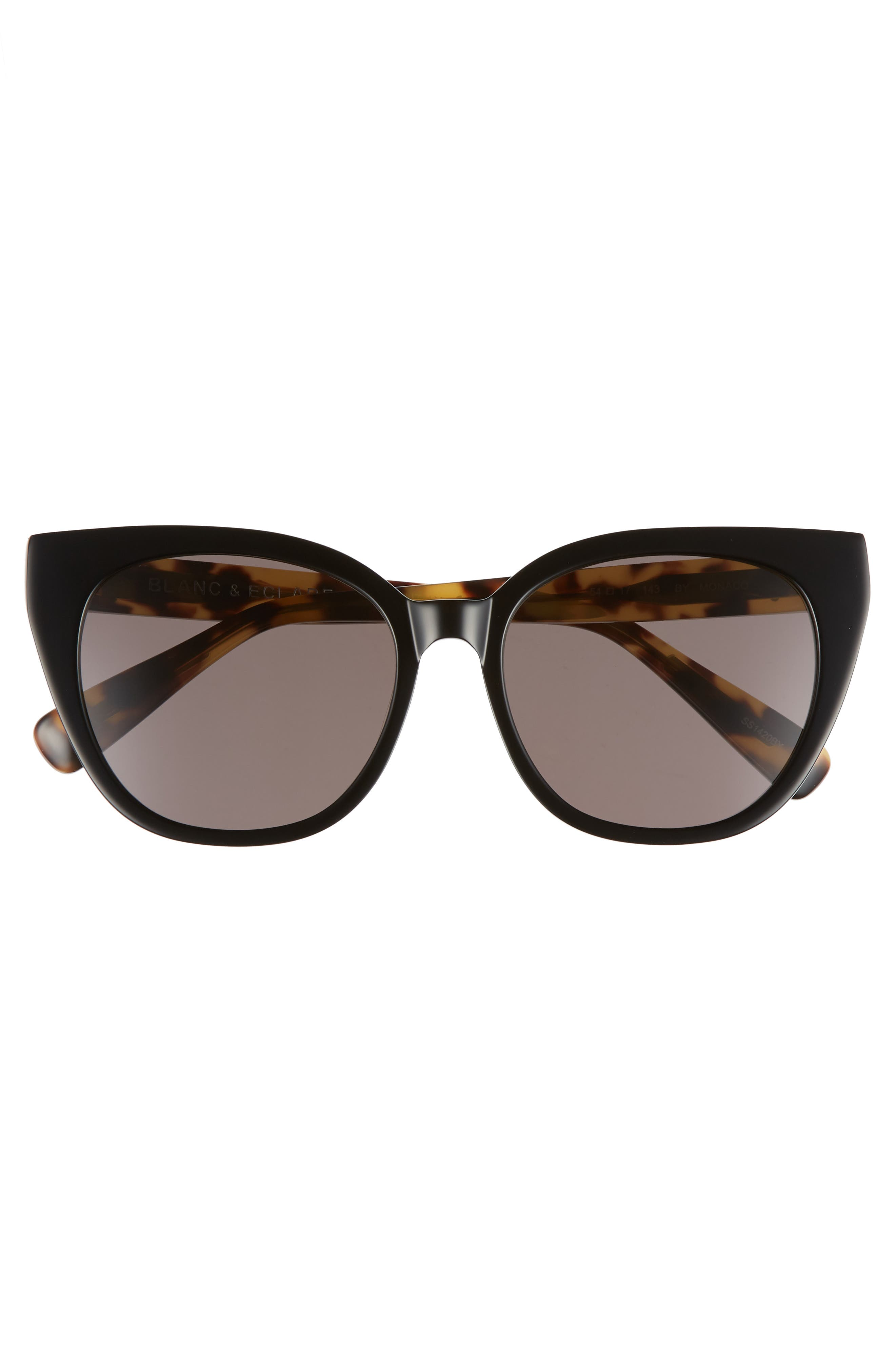 BLANC & ECLARE Monaco 54mm Cat Eye Sunglasses,                             Alternate thumbnail 3, color,                             Black/ Lemon Tortoise/ Grey