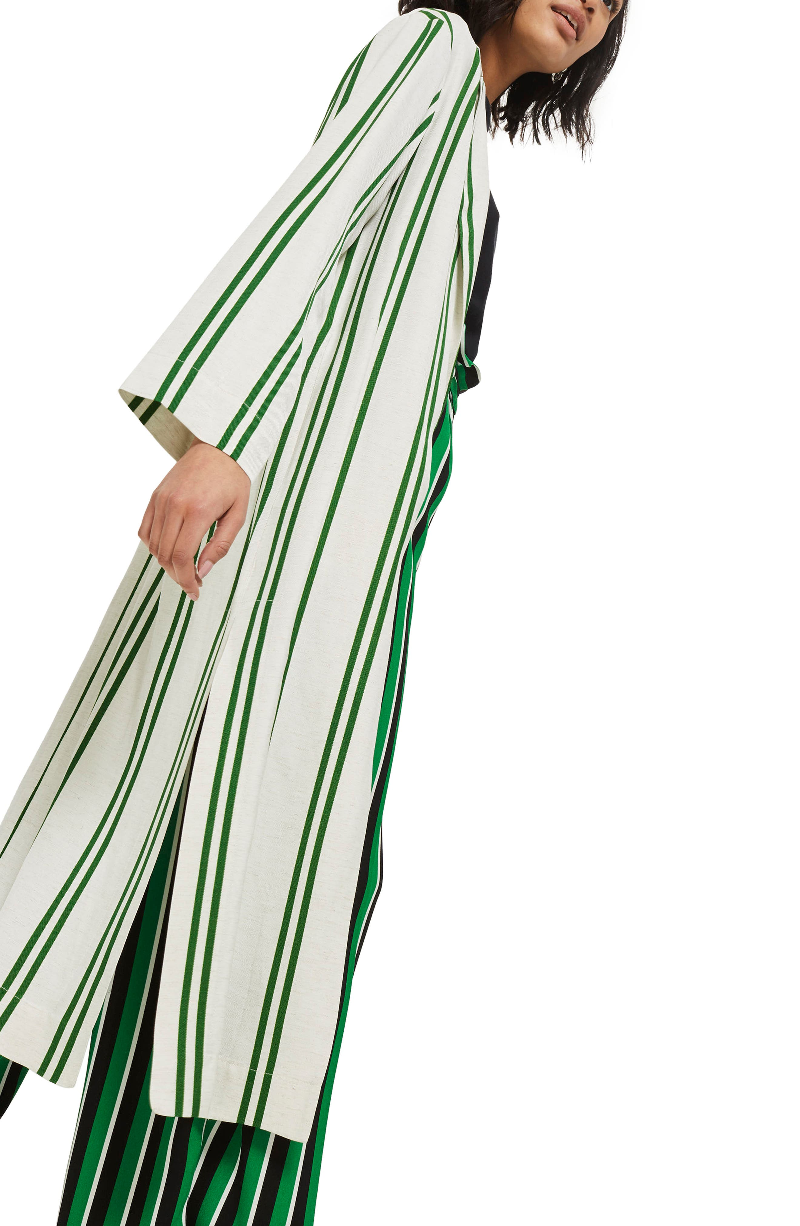 Slub Stripe Duster Coat,                             Alternate thumbnail 3, color,                             Green Multi
