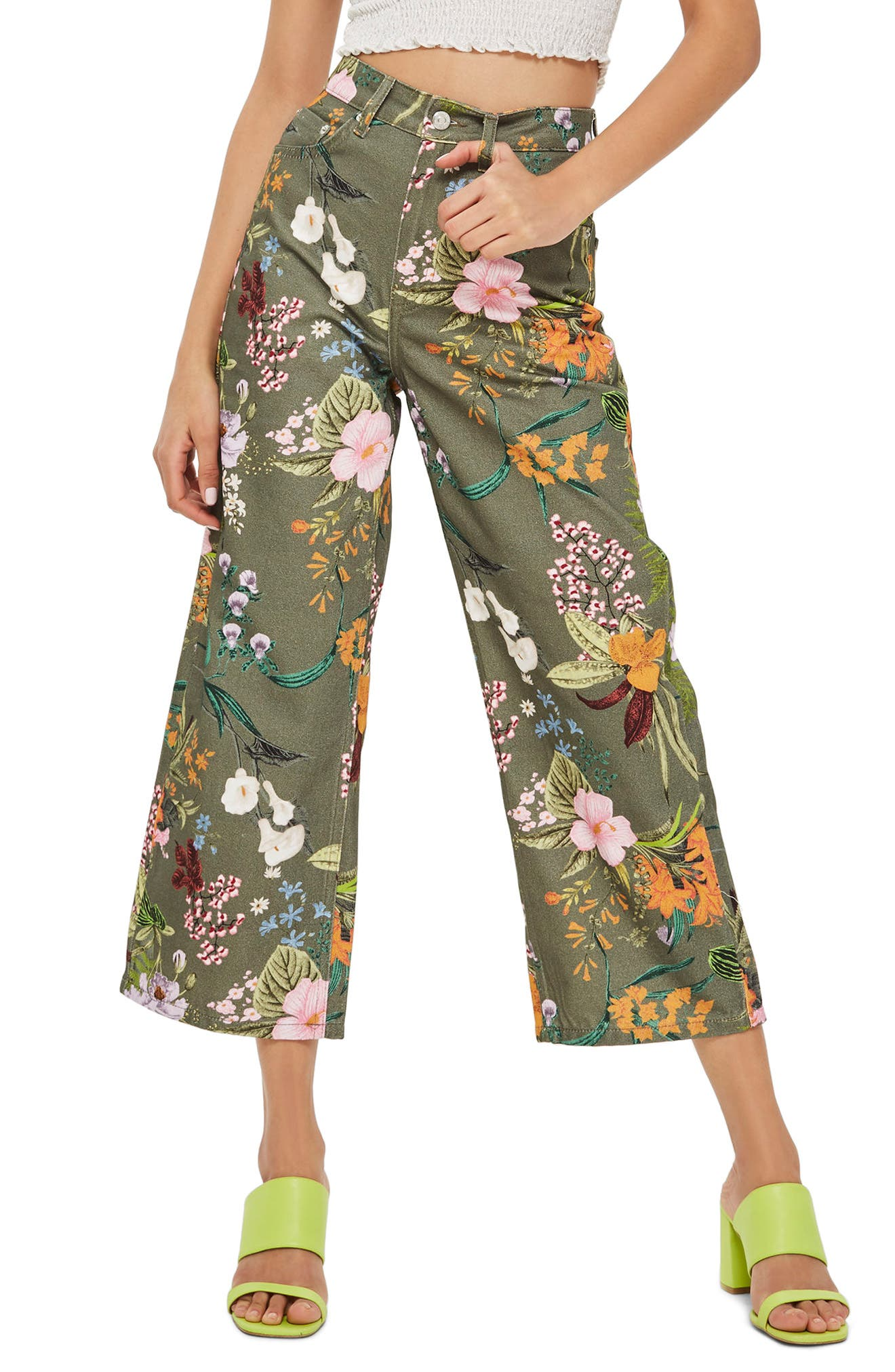 Tropical Floral Jeans,                             Main thumbnail 1, color,                             Olive Multi