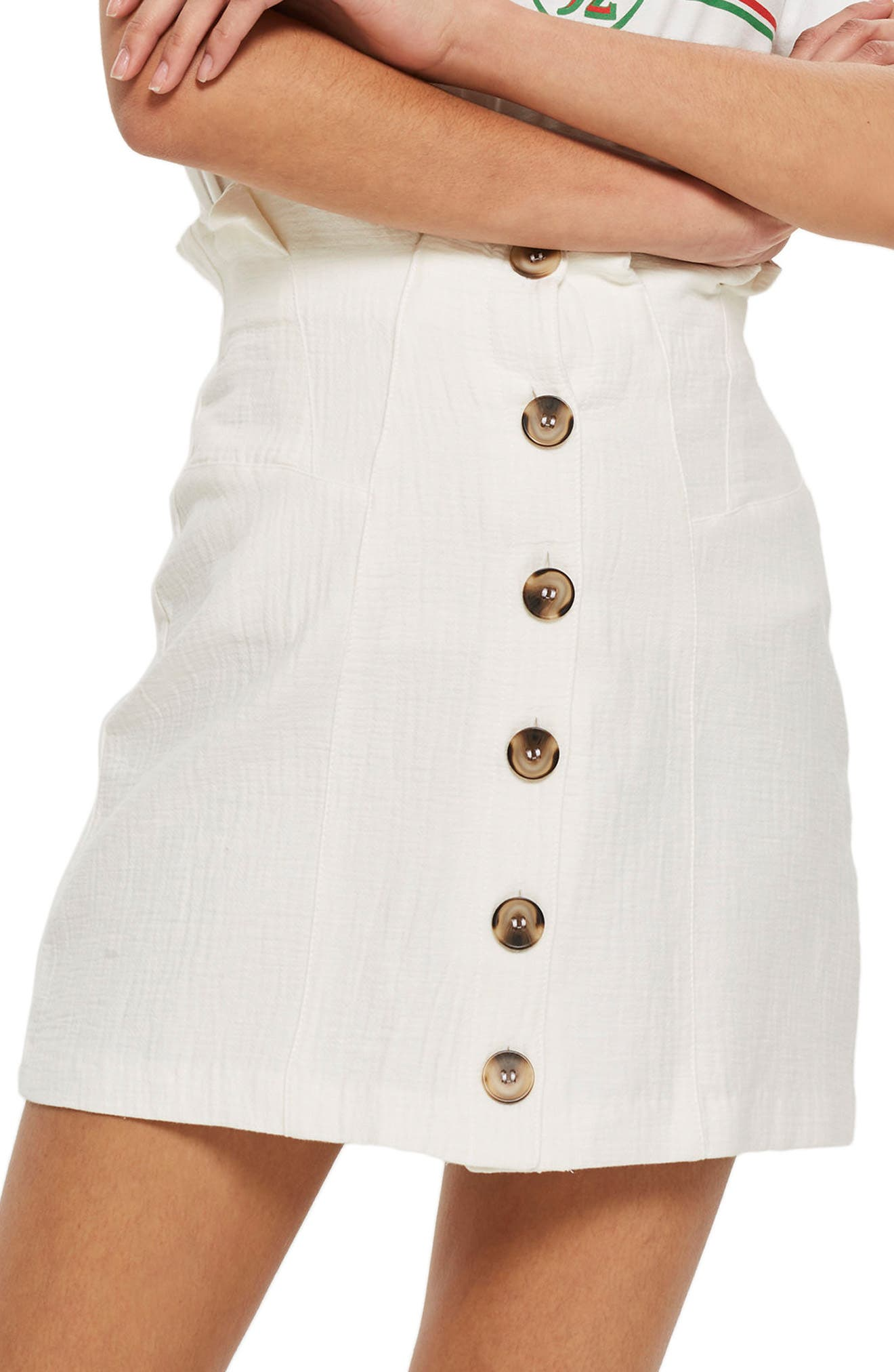 Paperbag Waist Button Front Skirt,                             Alternate thumbnail 3, color,                             Ivory