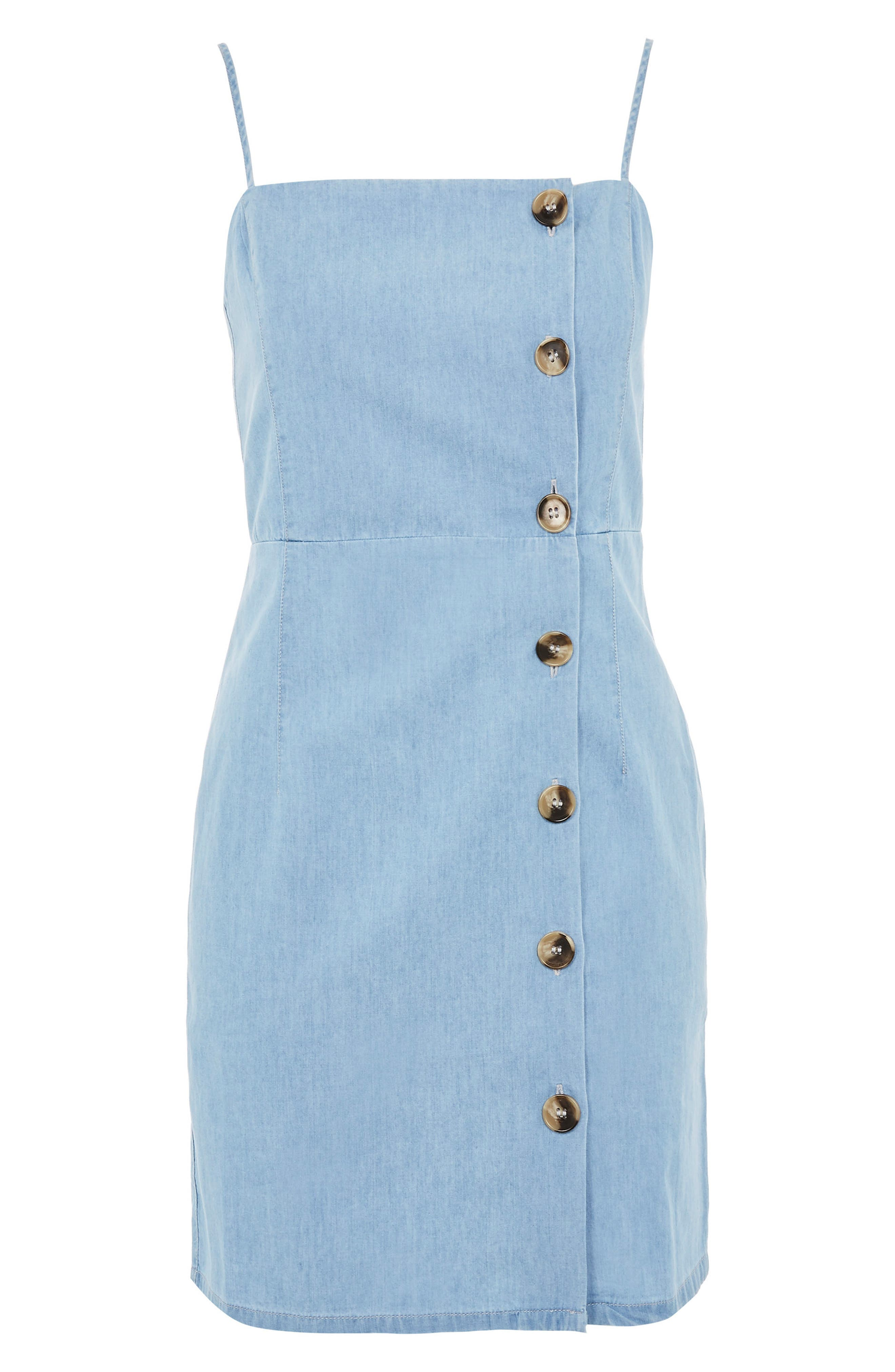 Horn Button Minidress,                             Alternate thumbnail 4, color,                             Mid Denim