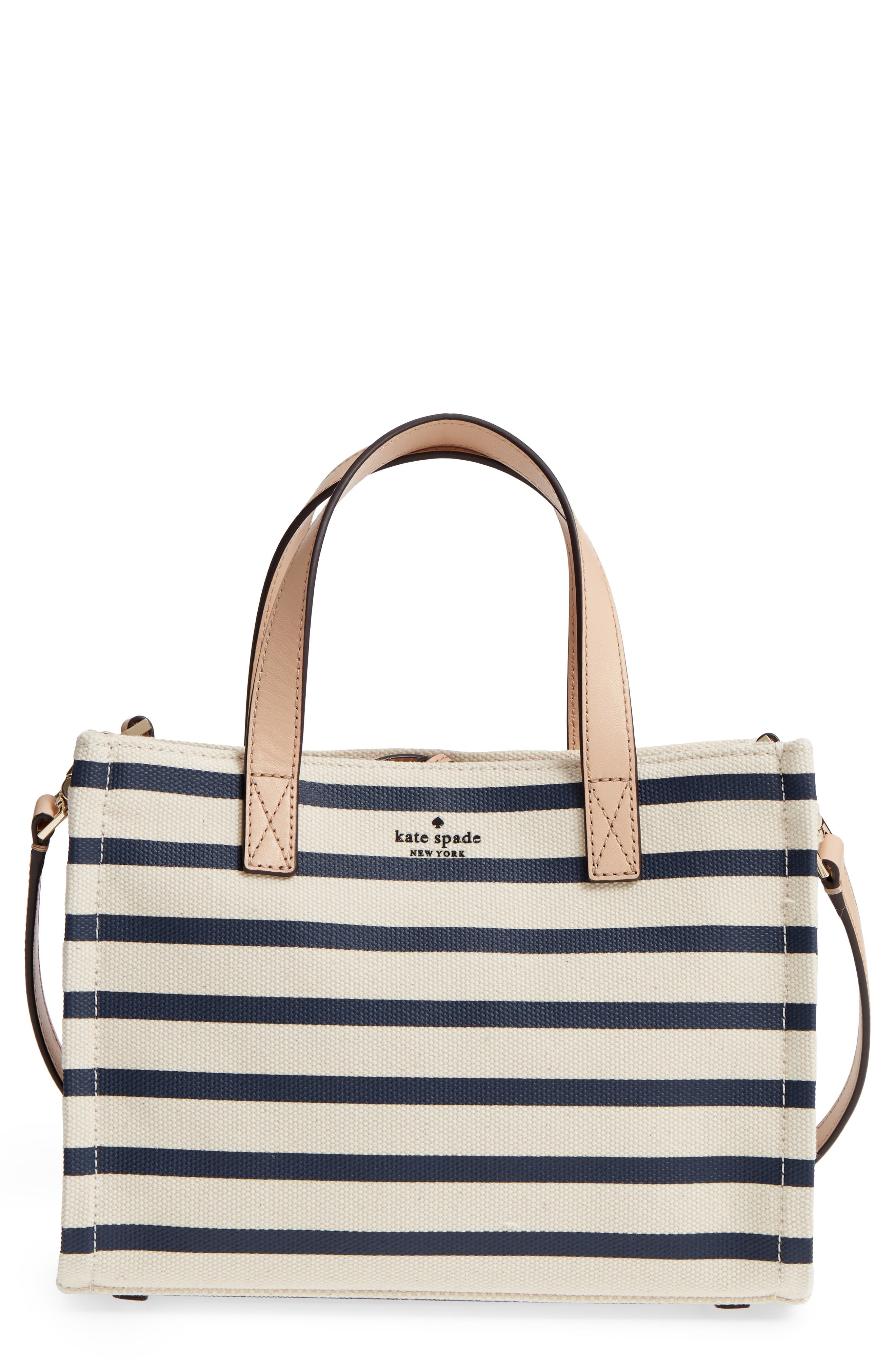 washington square - sam canvas handbag,                             Main thumbnail 1, color,                             Rich Navy Stripe
