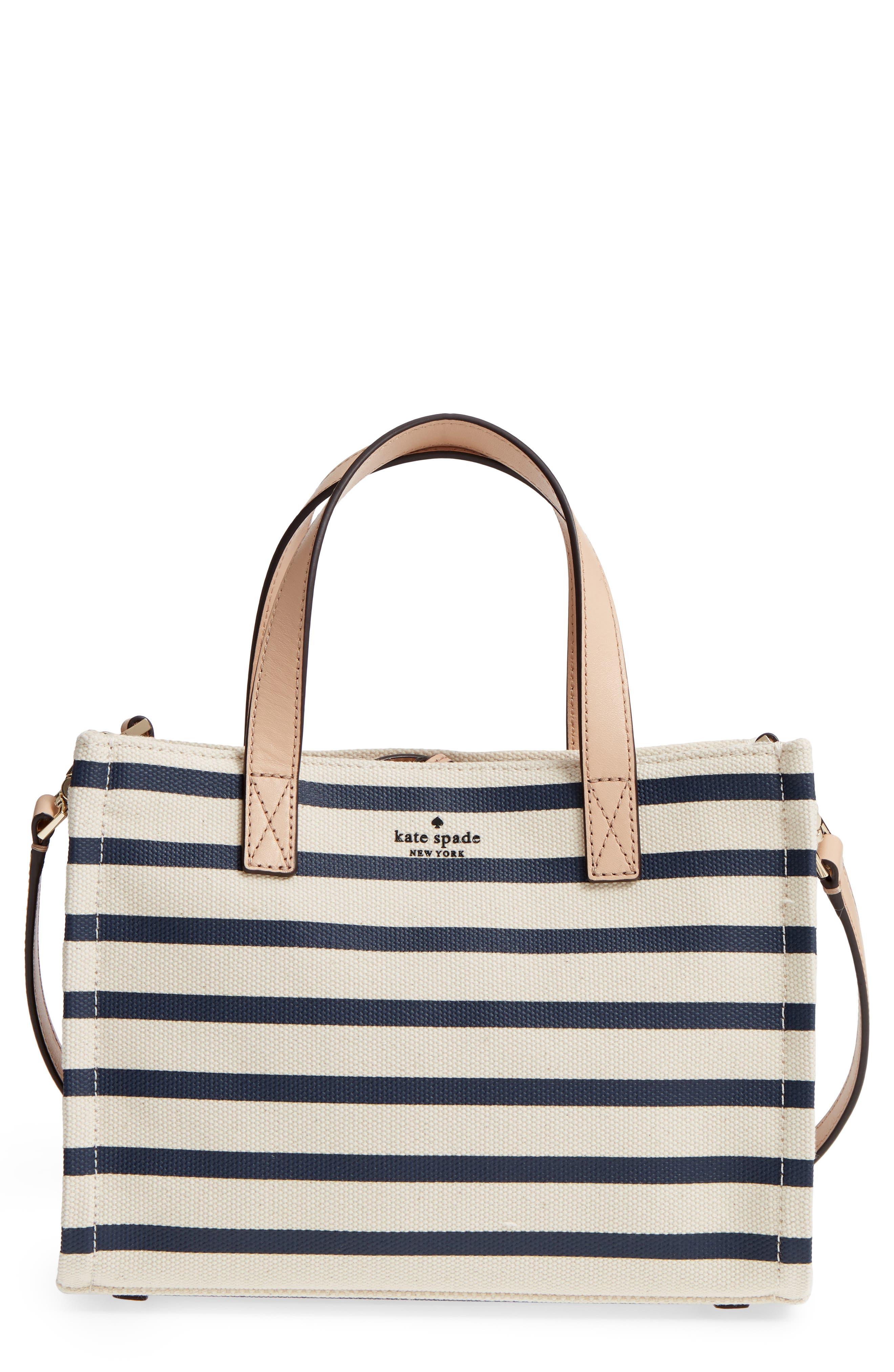 washington square - sam canvas handbag,                         Main,                         color, Rich Navy Stripe