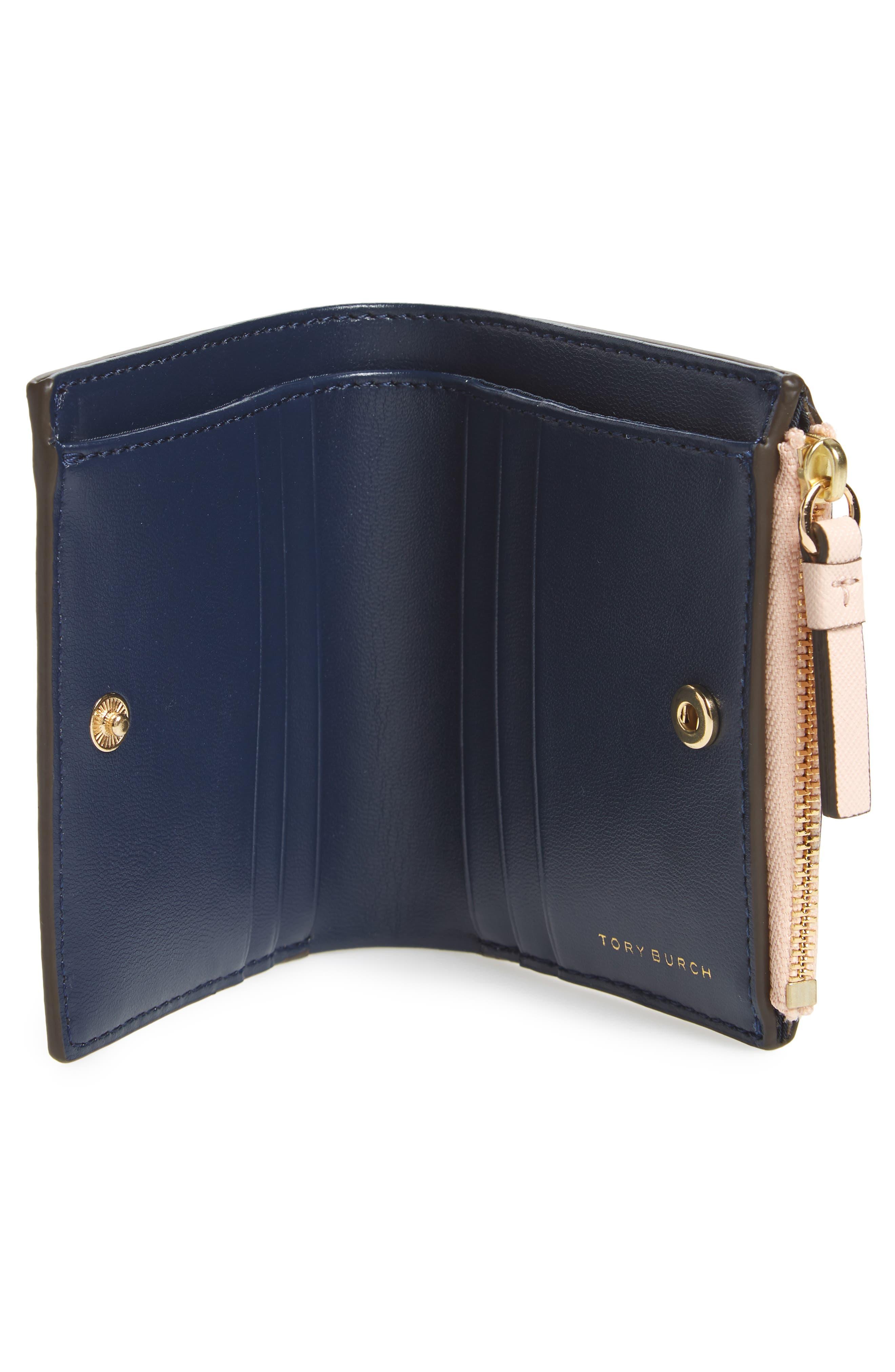 Mini Robinson Wallet Leather Bifold Wallet,                             Alternate thumbnail 2, color,                             Pale Apricot / Royal Navy