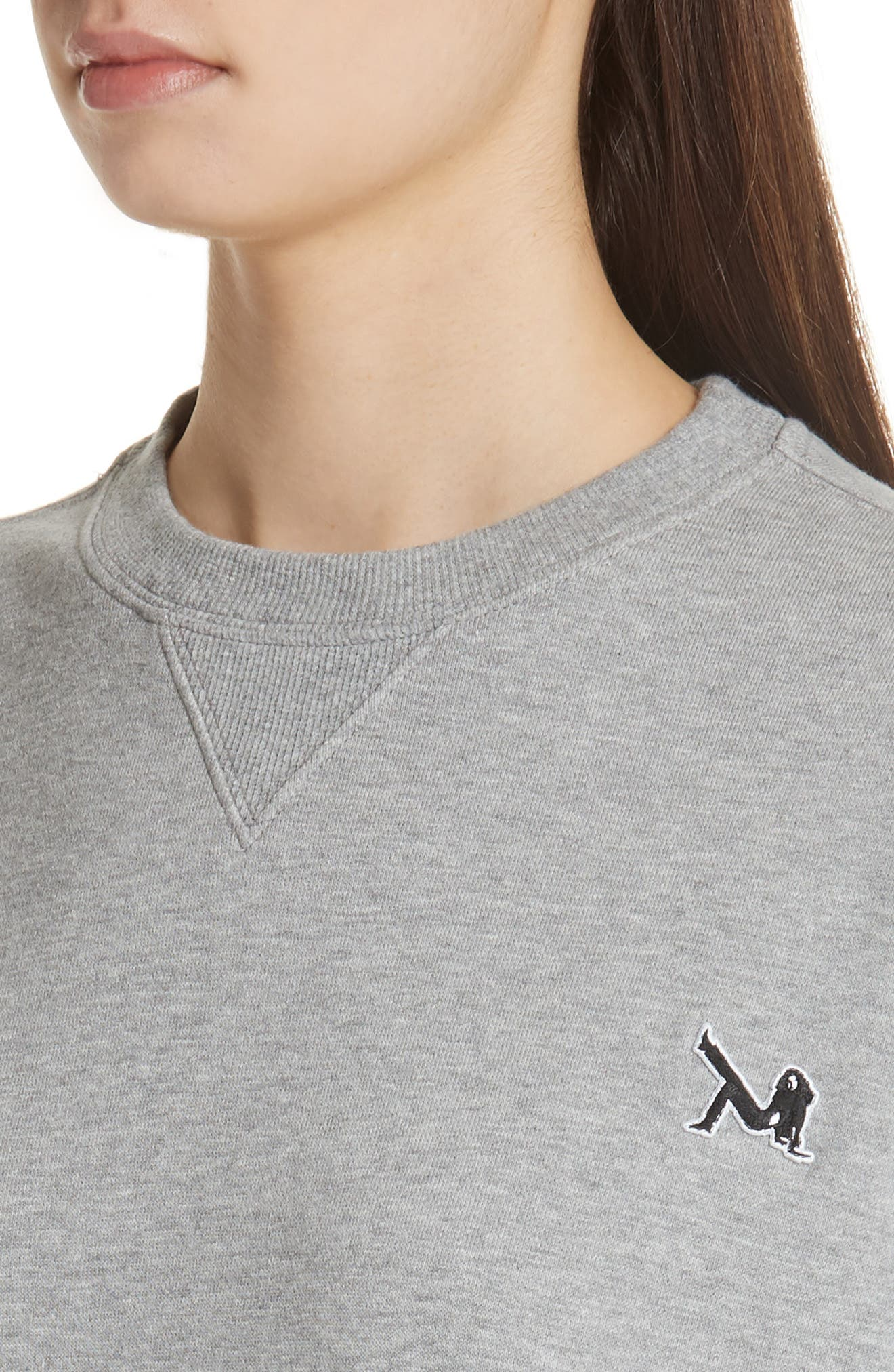 Brooke Shields Patch Sweatshirt,                             Alternate thumbnail 4, color,                             Grey