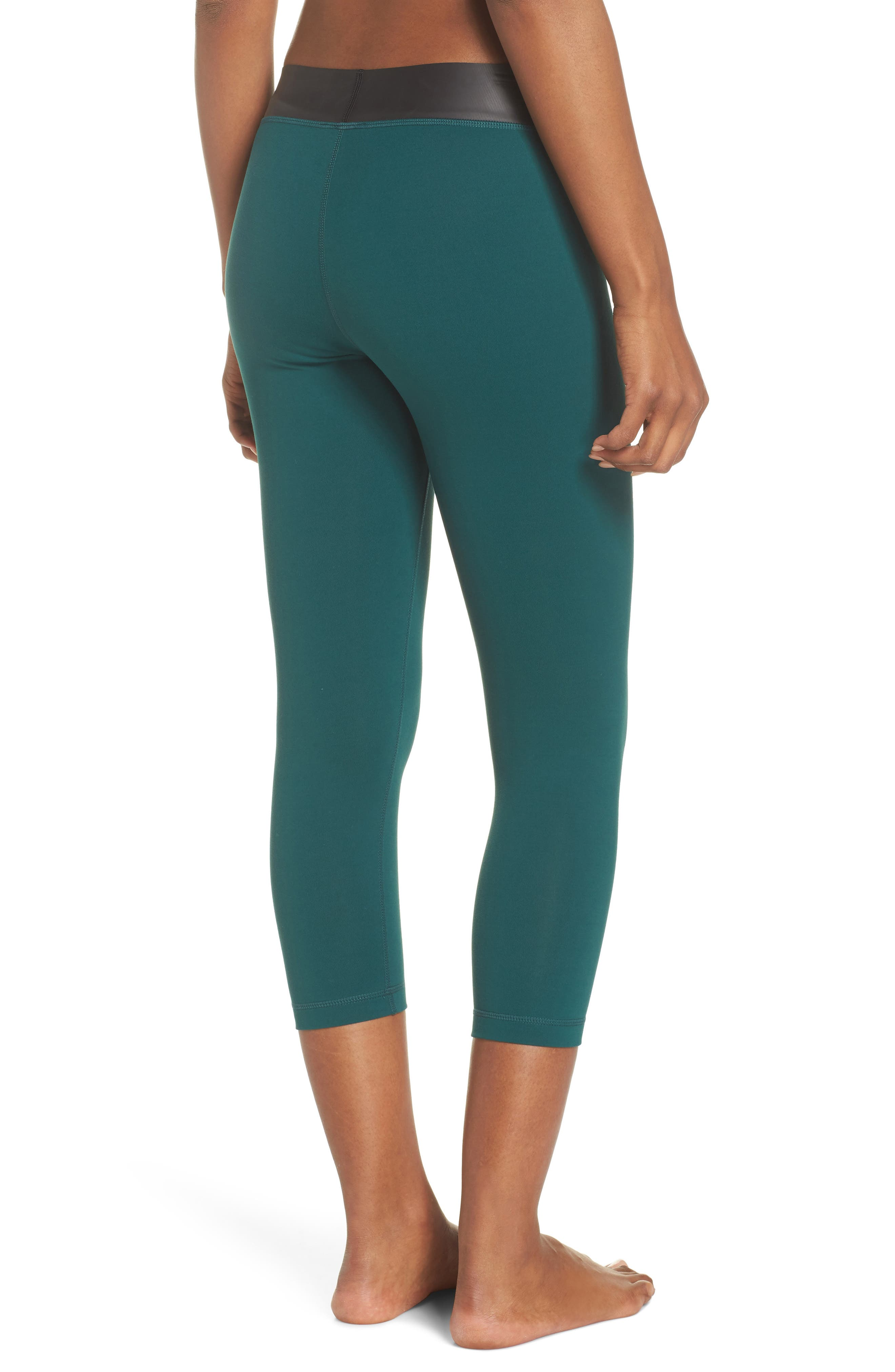 Neo Banded Crop Leggings,                             Alternate thumbnail 2, color,                             Green Bug