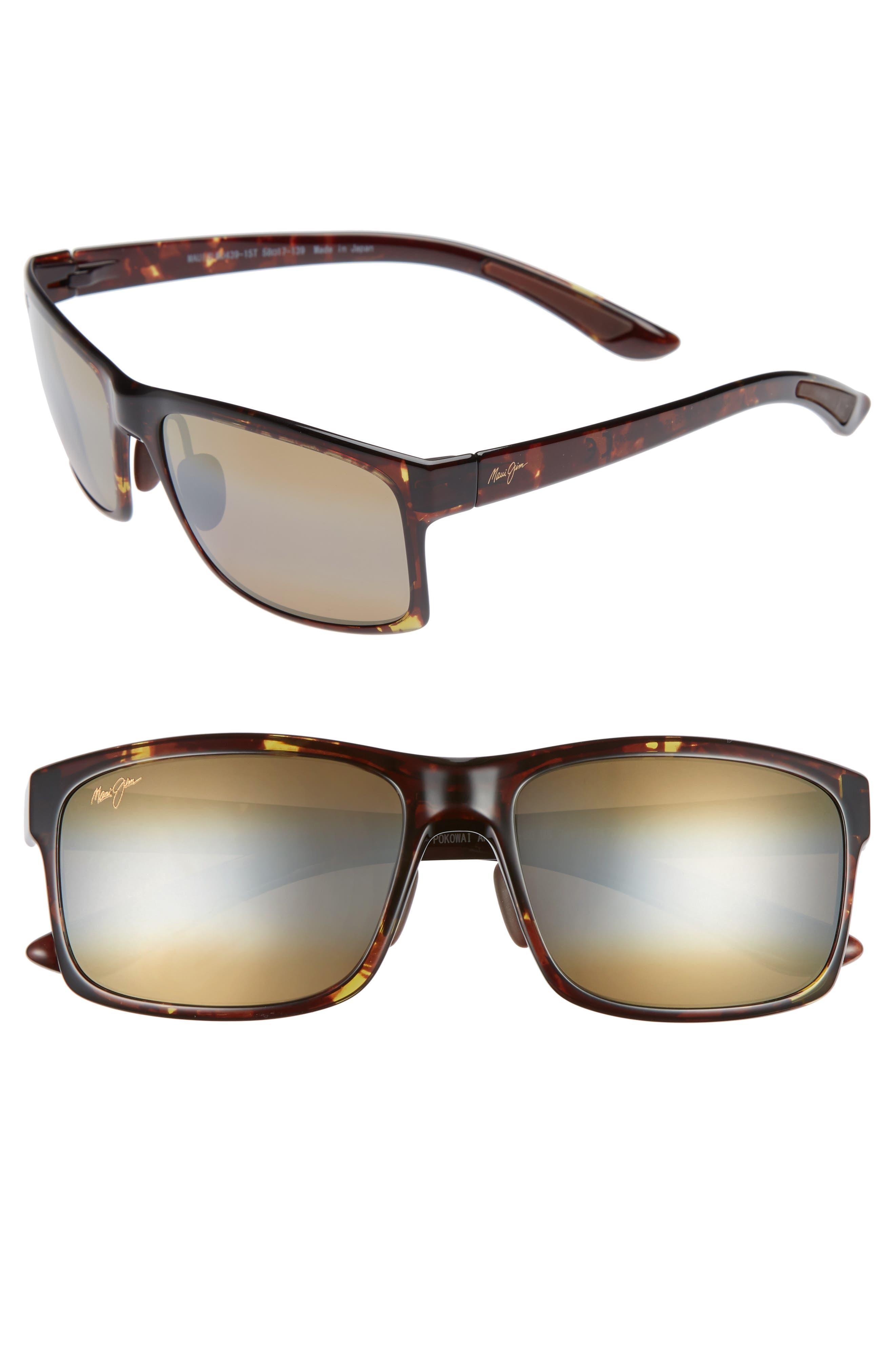 Pokowai Arch 58mm Polarized Sunglasses,                             Main thumbnail 1, color,                             Olive Tortoise/ Bronze