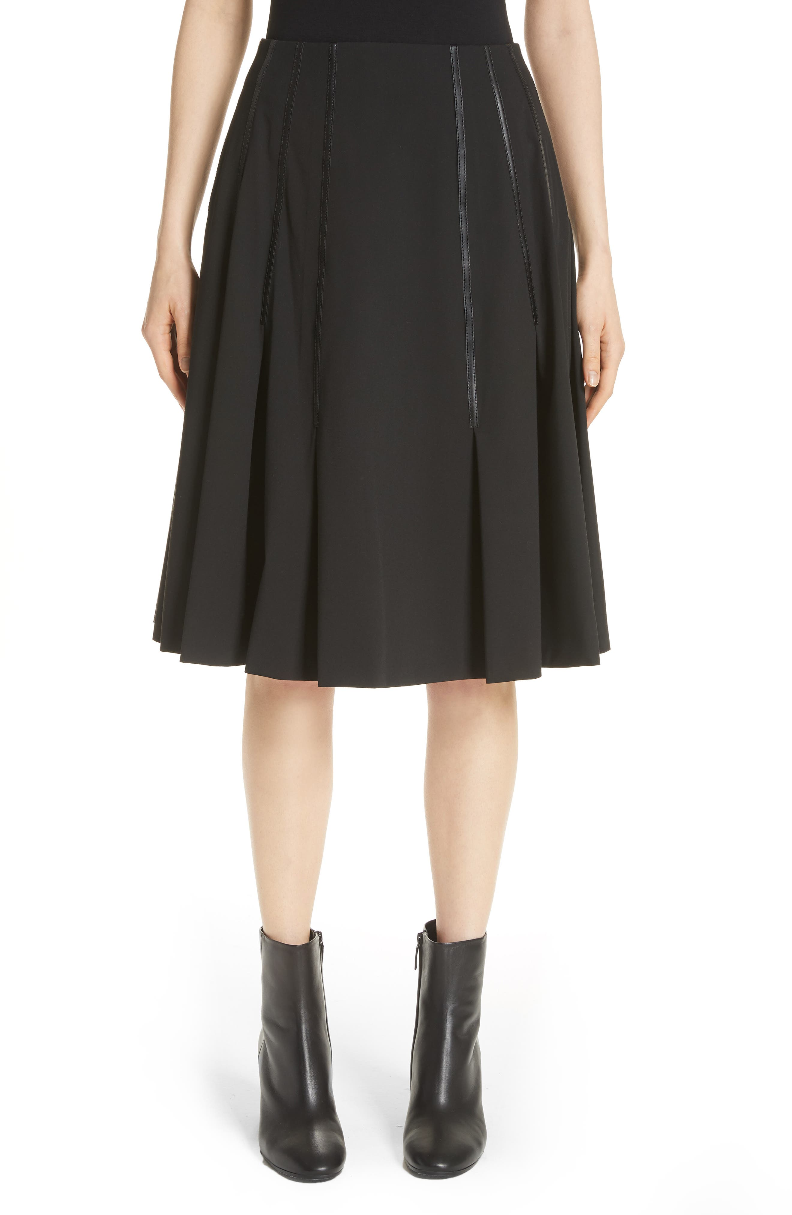 Pleated Faux Leather Trim Skirt,                         Main,                         color, Black