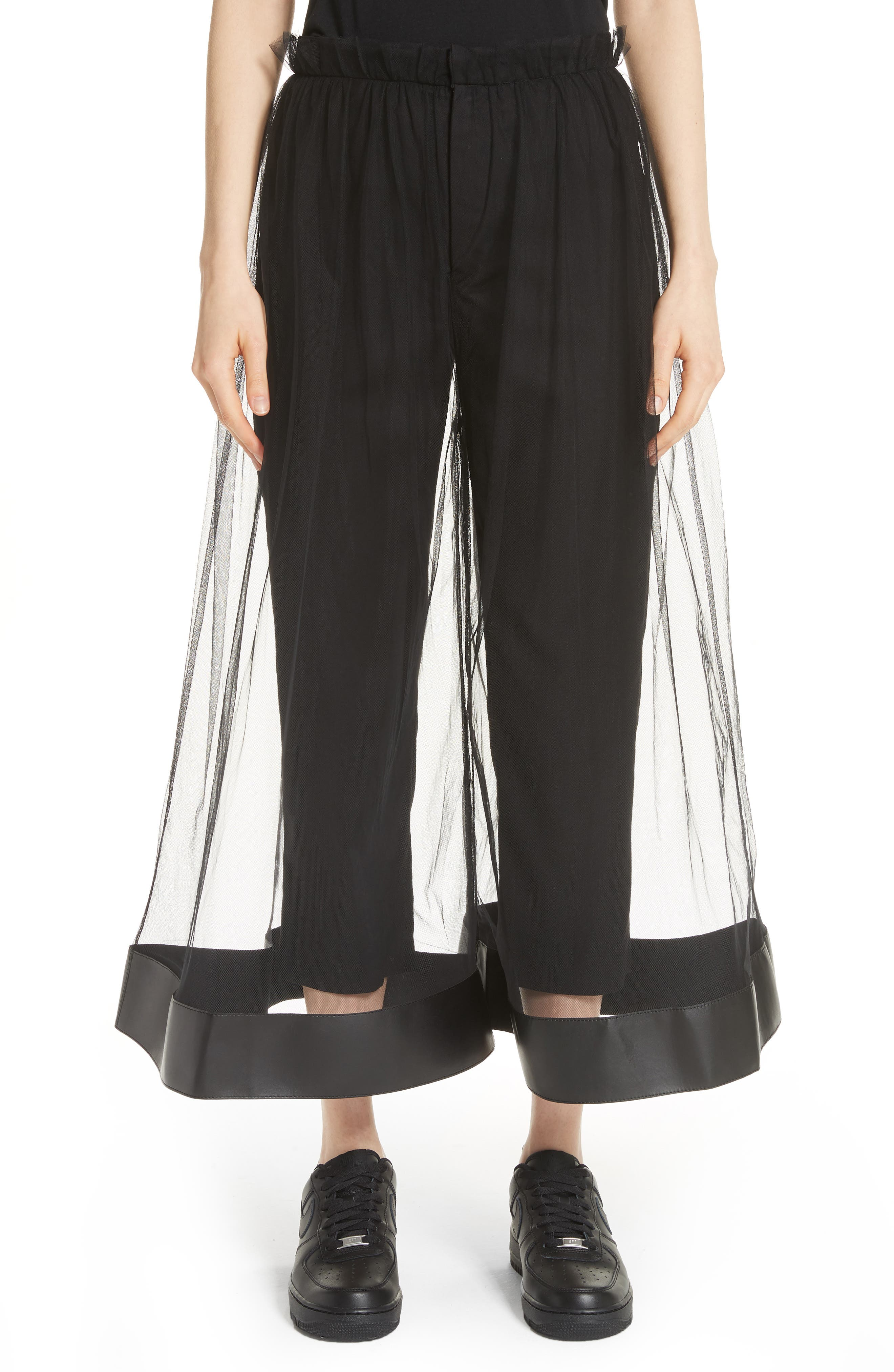 Tulle Overlay Crop Pants,                         Main,                         color, Black