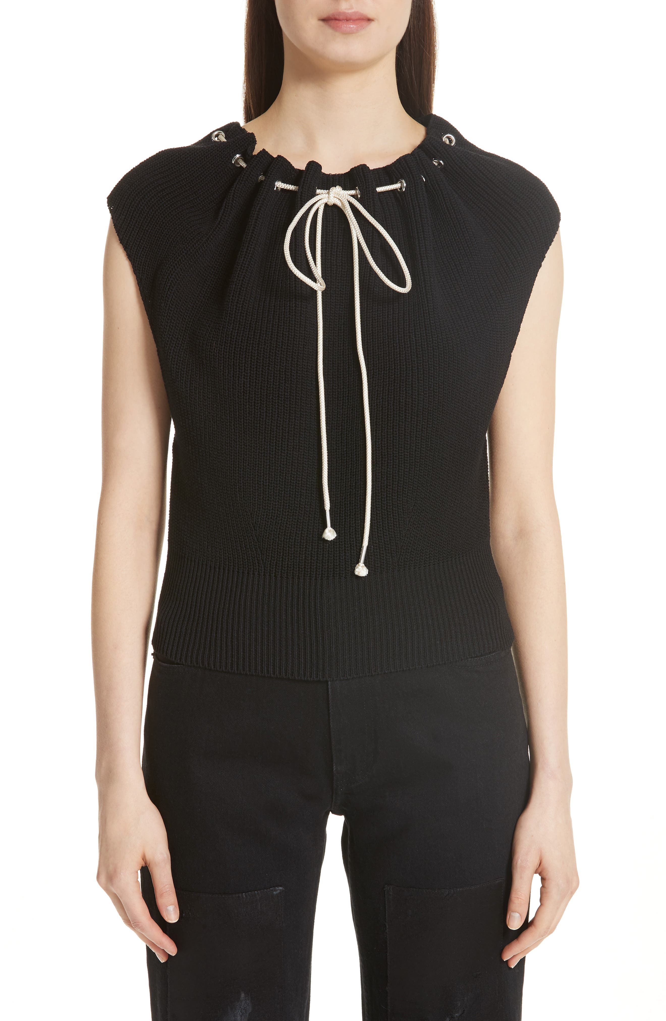 Drawstring Knit Top,                         Main,                         color, Black