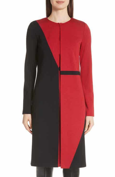 St. John Collection Slanted Colorblock Milano Knit Topper
