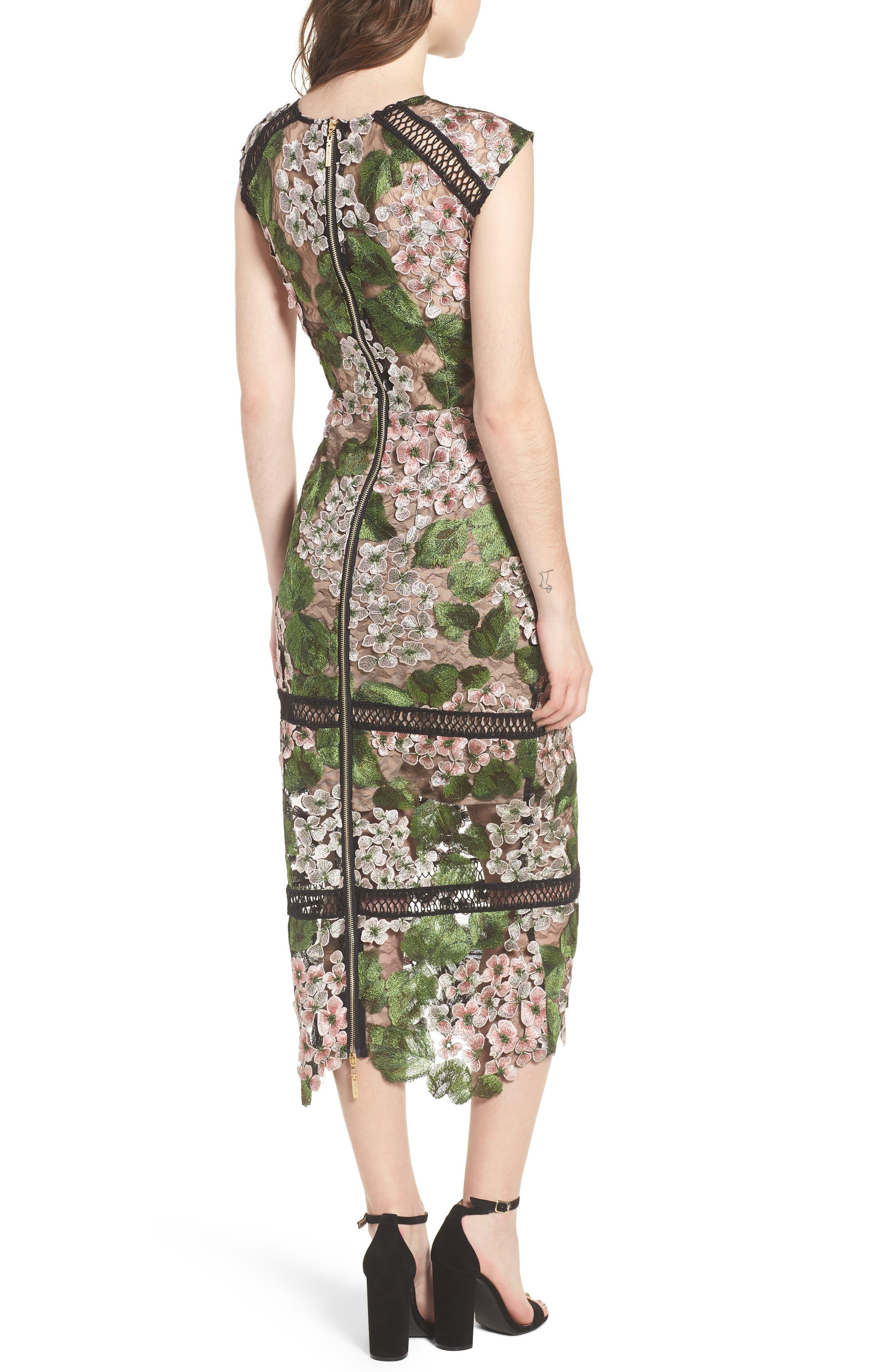 Cherry Hydrangea Lace Dress,                             Alternate thumbnail 2, color,                             Multicolor Pink