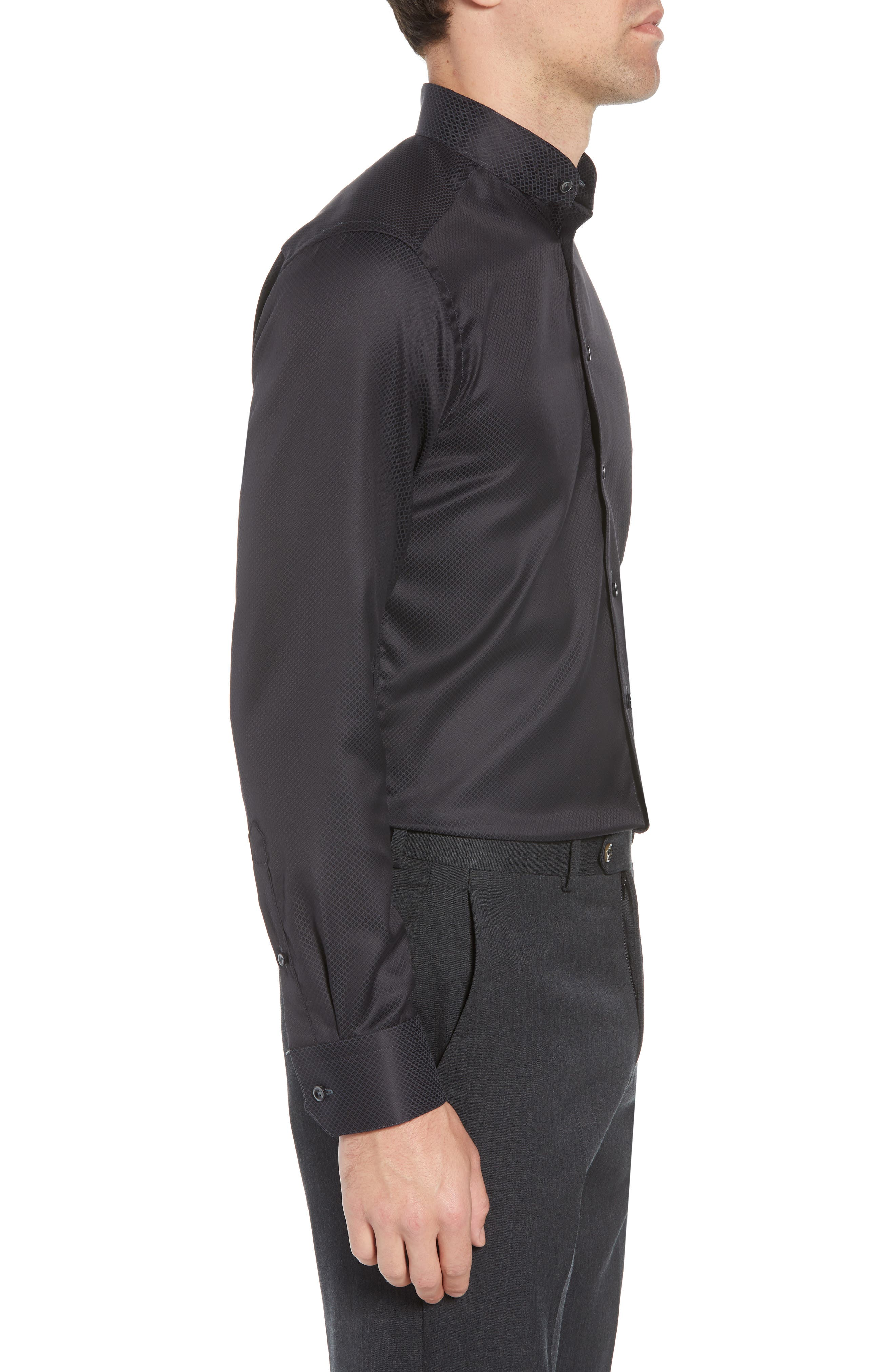 Slim Fit Solid Dress Shirt,                             Alternate thumbnail 4, color,                             Black