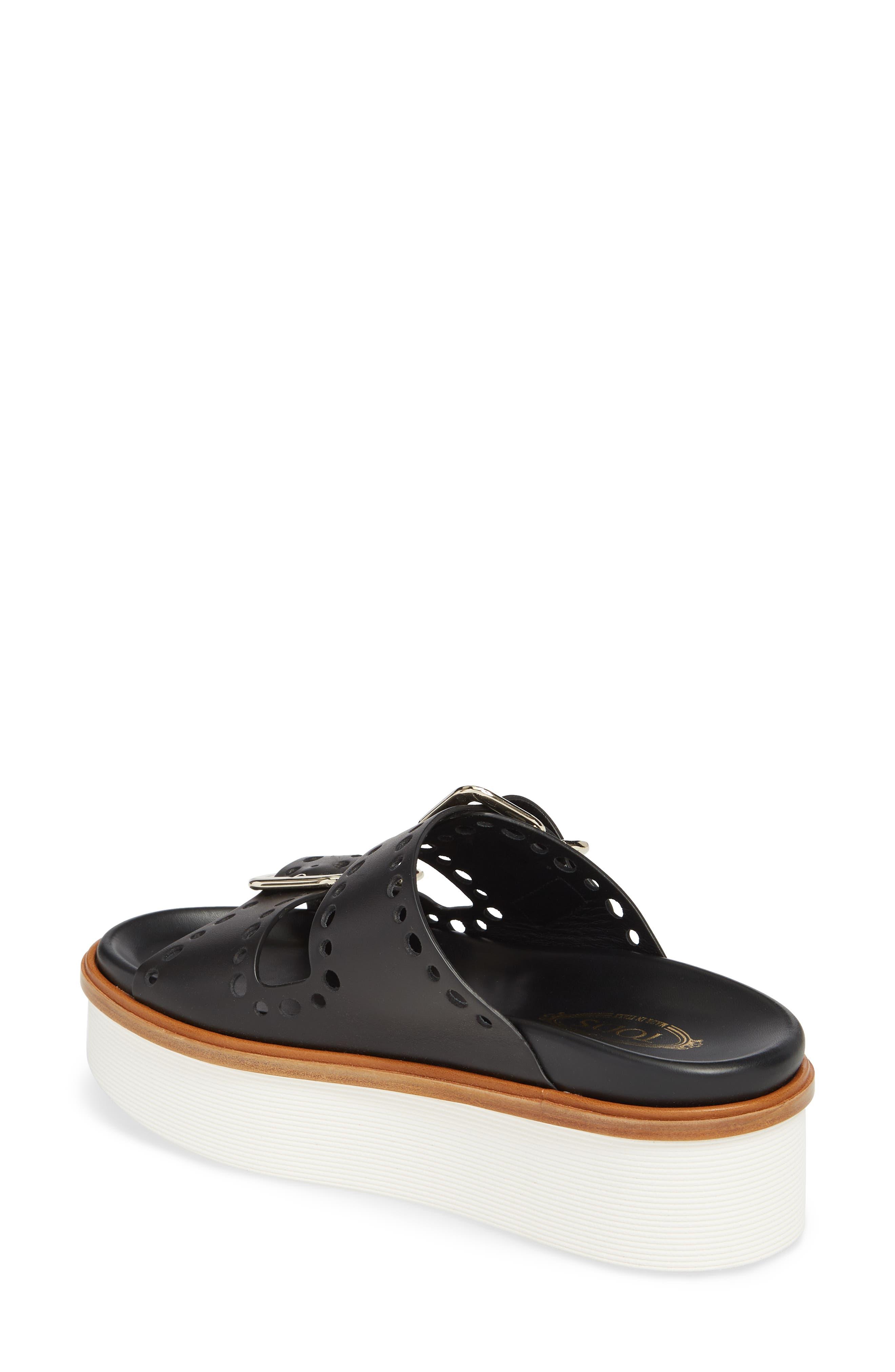 Perforated Platform Slide Sandal,                             Alternate thumbnail 2, color,                             Black