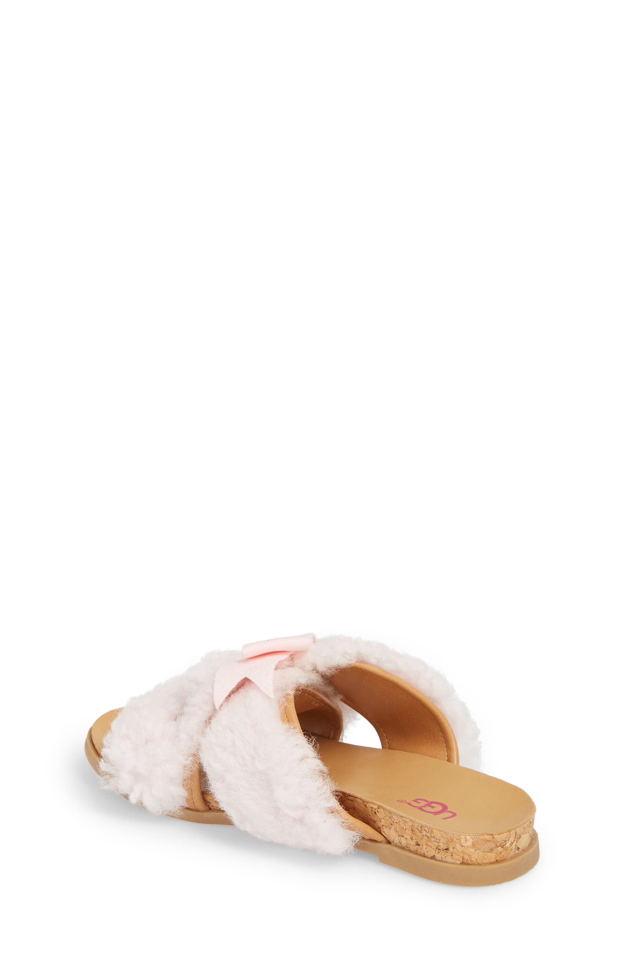 Staceee Genuine Shearling Slide Sandal,                             Alternate thumbnail 2, color,                             Seashell Pink