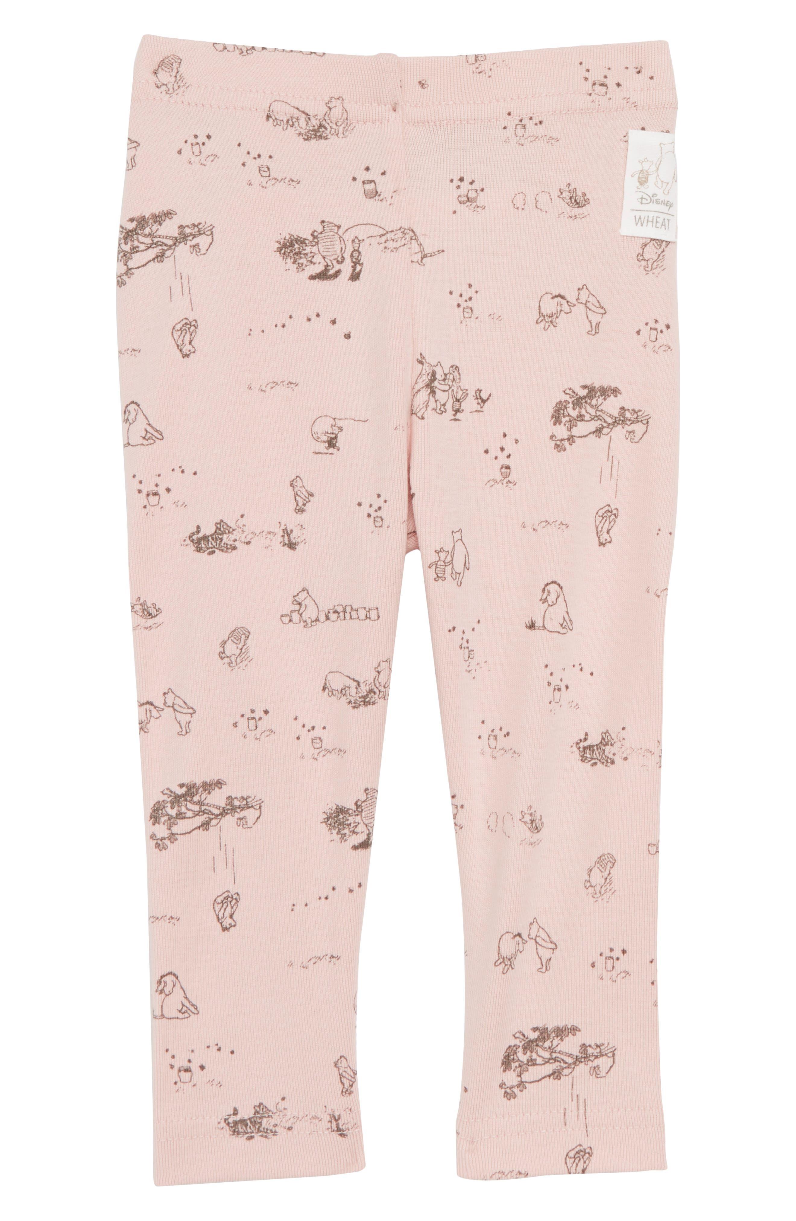 x Disney<sup>®</sup> Winnie the Pooh Organic Cotton Leggings,                             Main thumbnail 1, color,                             Powder