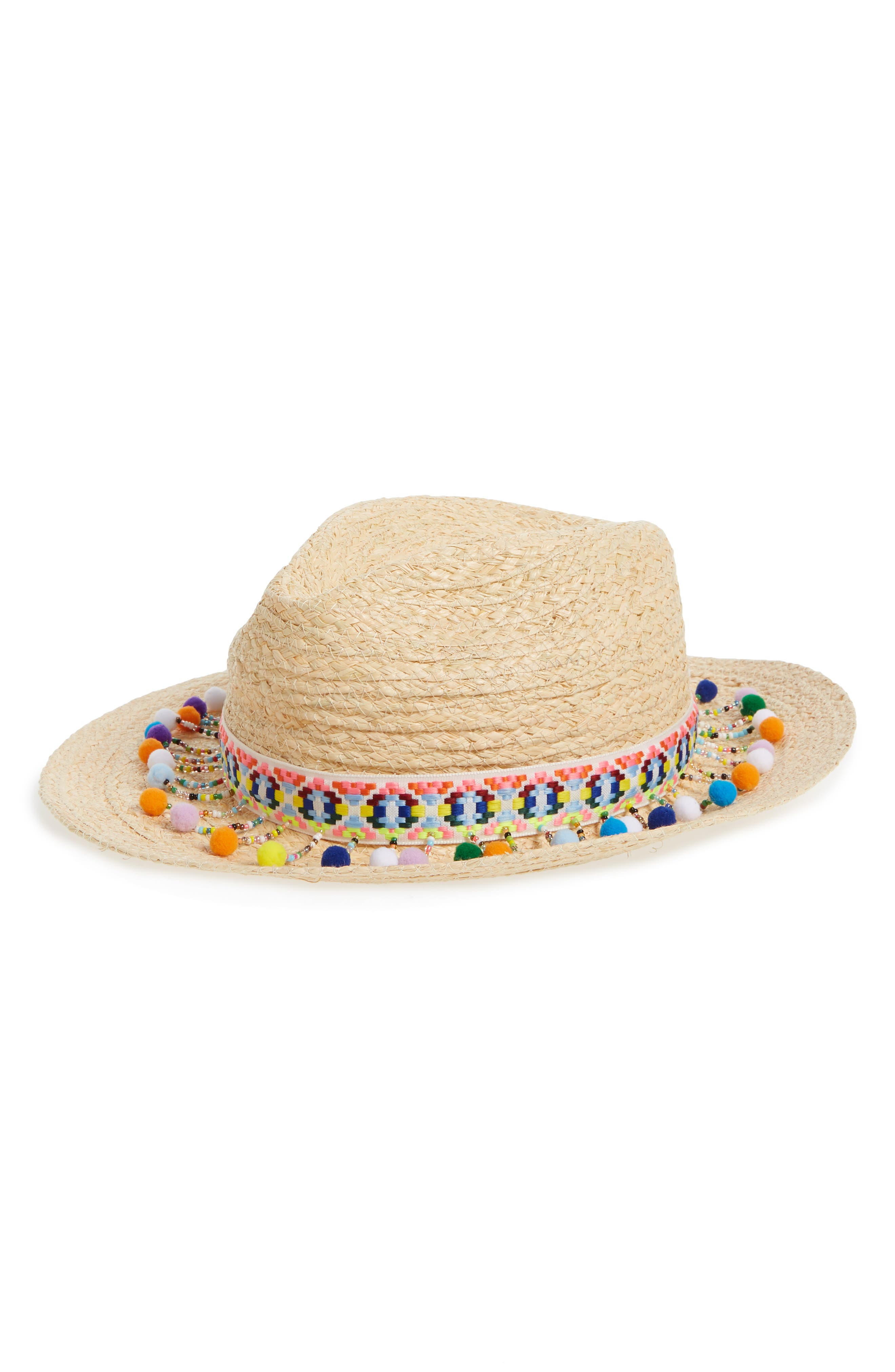 Beaded Pompom Trim Panama Hat,                             Main thumbnail 1, color,                             Natural Combo