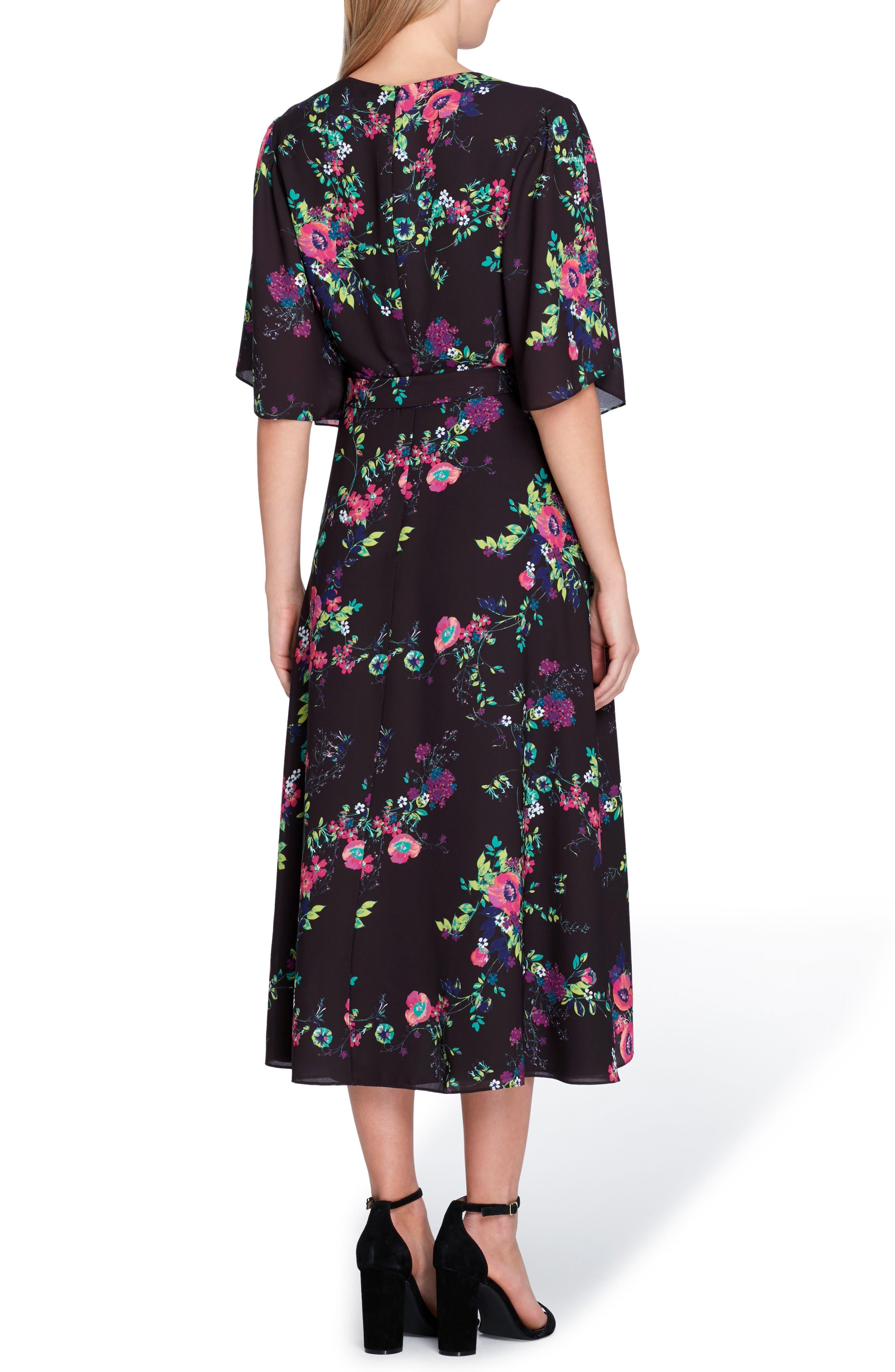 Floral Faux Wrap Midi Dress,                             Alternate thumbnail 2, color,                             Black/ Fuchsia/ Green