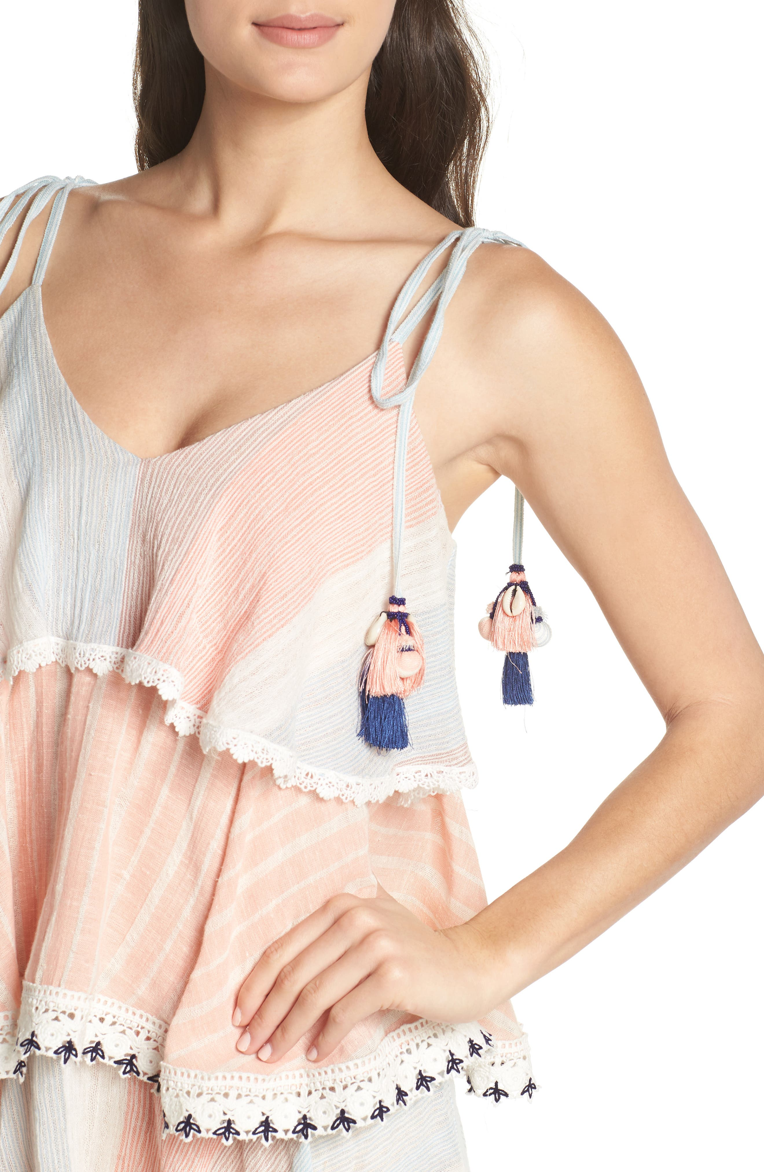 Hemant & Nandita Tiered Cover-Up Dress,                             Alternate thumbnail 4, color,                             Peach