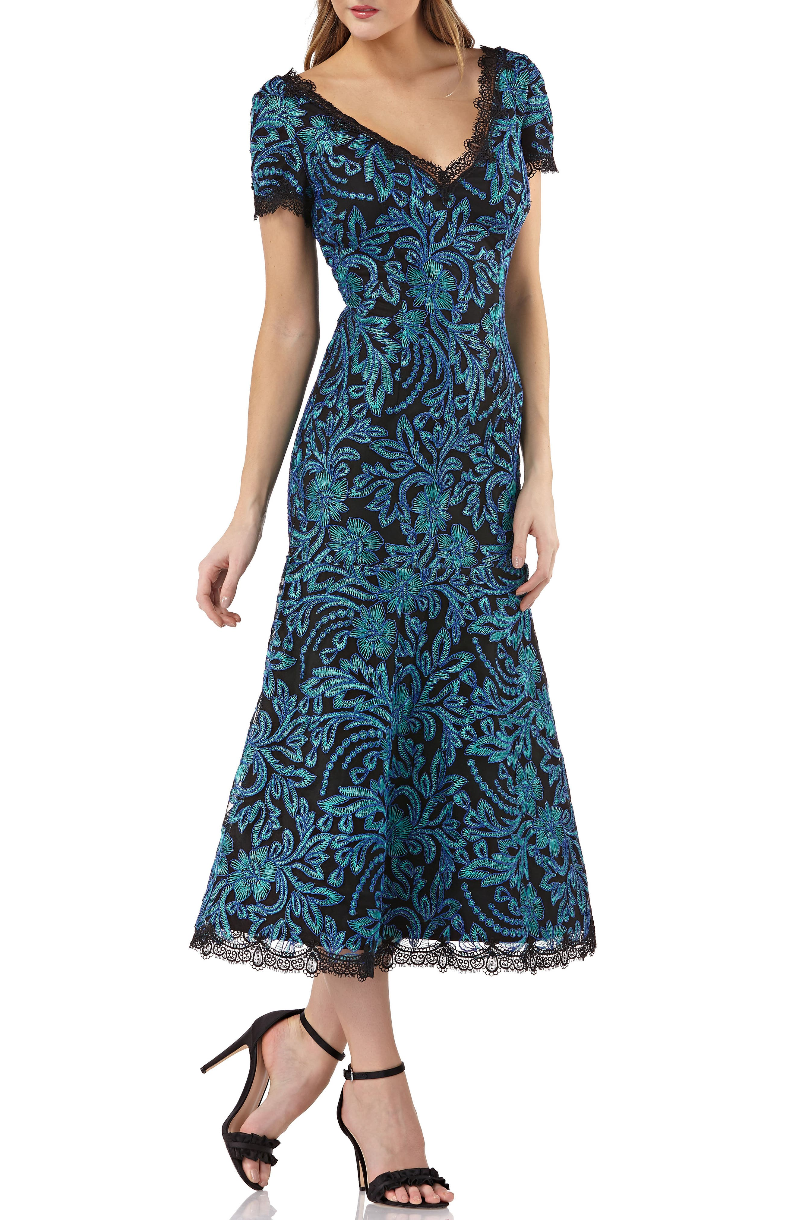 JS COLLECTIONS EMBROIDERED MESH DRESS