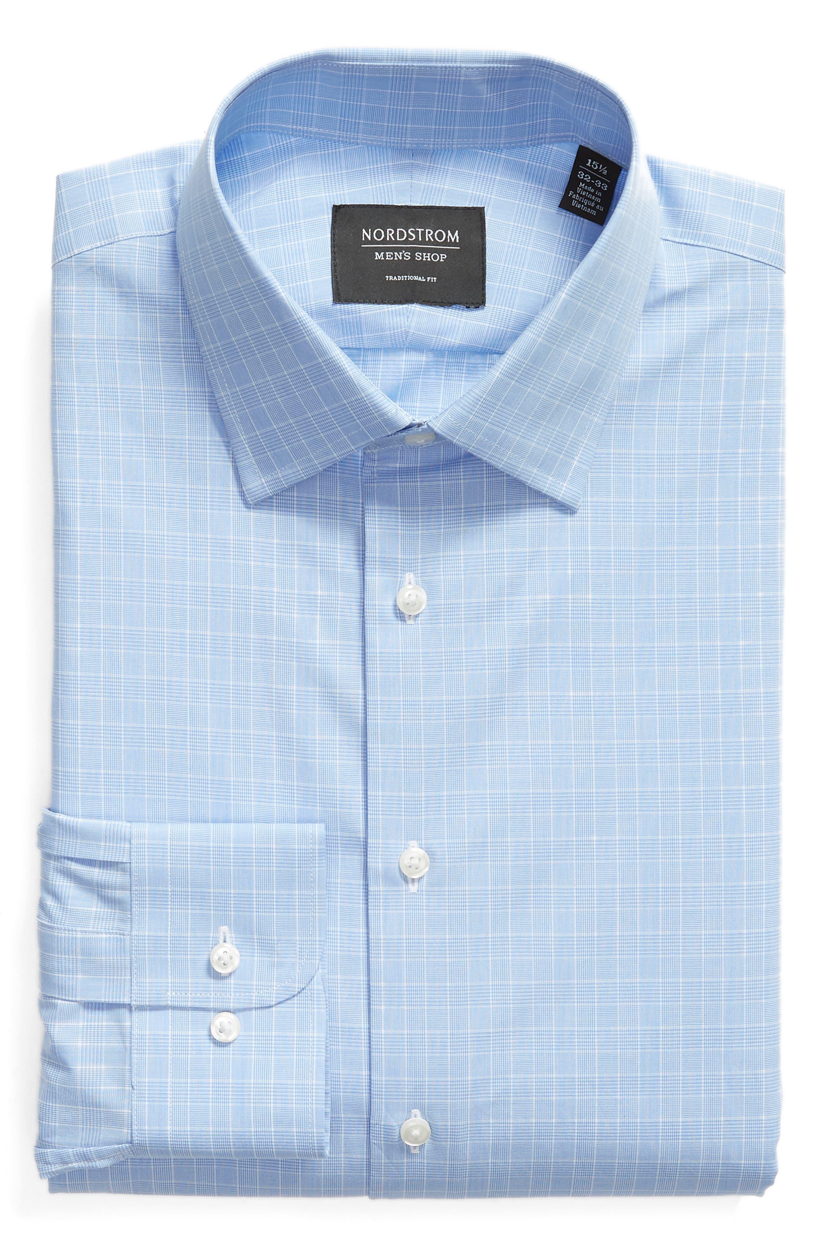 Traditional Fit Dress Shirt,                             Alternate thumbnail 6, color,                             Blue Bel Air