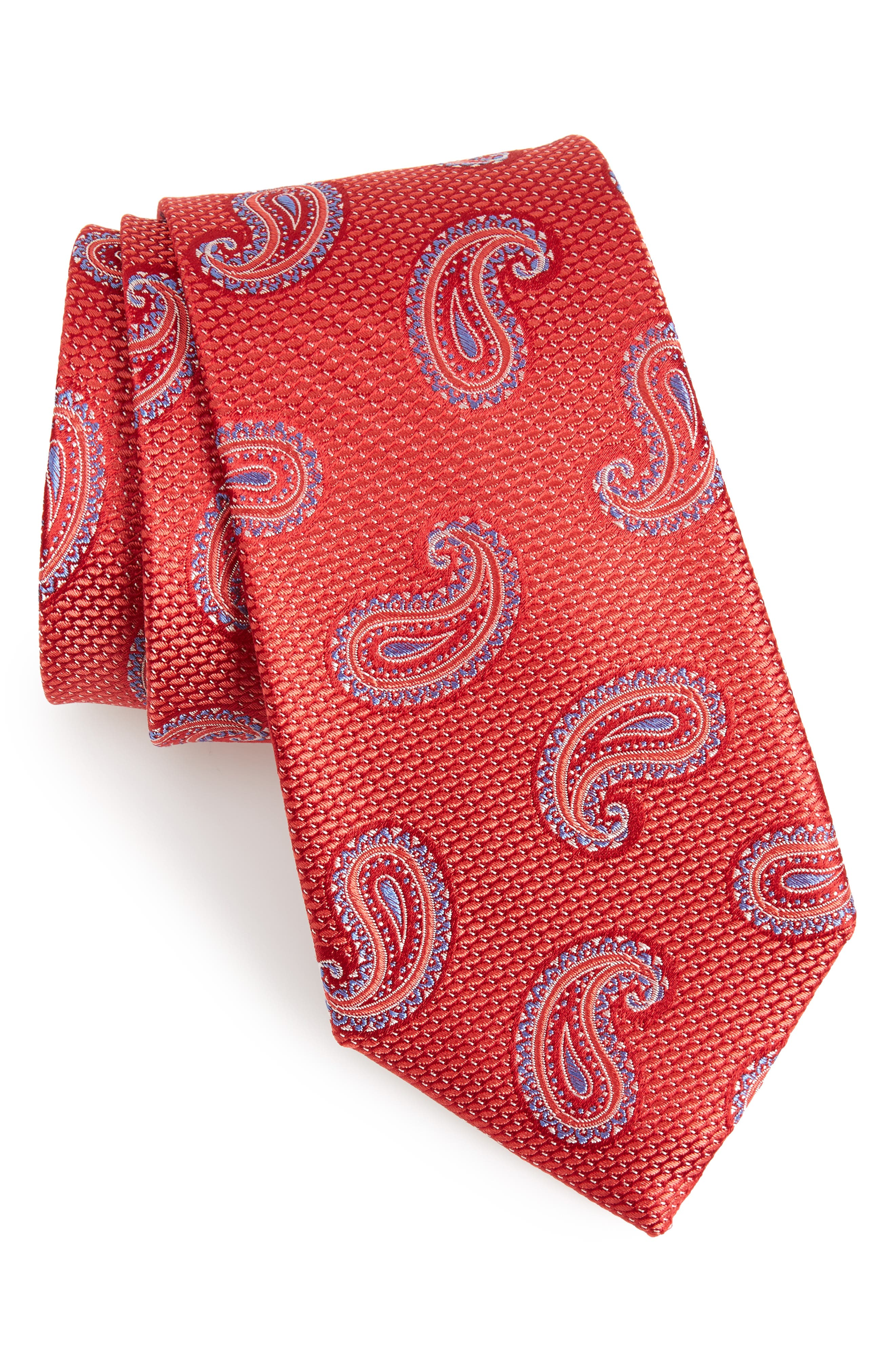Jerome Paisley Silk Tie,                         Main,                         color, Red