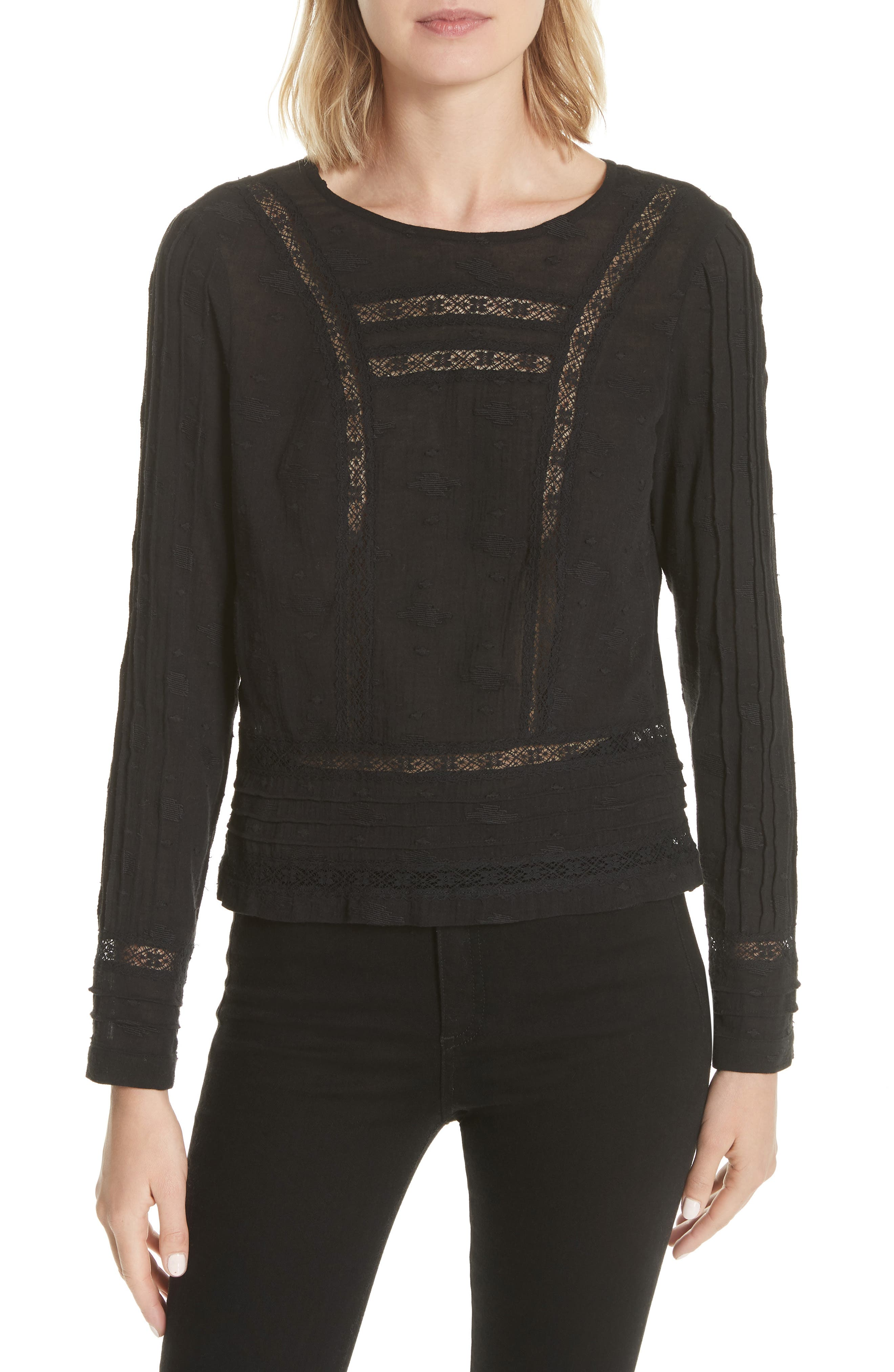 Veronica Beard Carmen Lace Inset Embroidered Blouse
